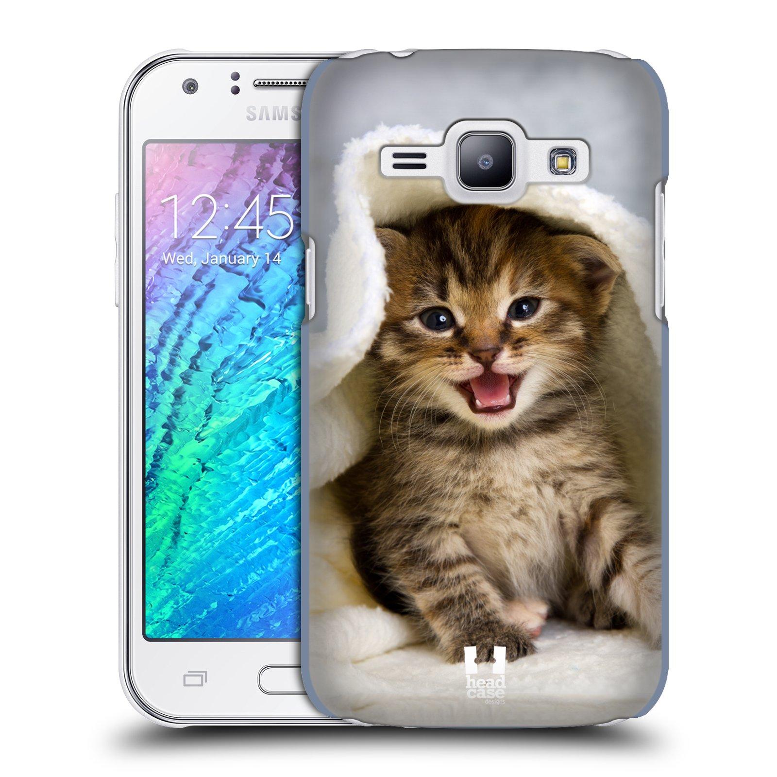 HEAD CASE plastový obal na mobil SAMSUNG Galaxy J1, J100 vzor Kočičky koťata foto kotě v ručníku