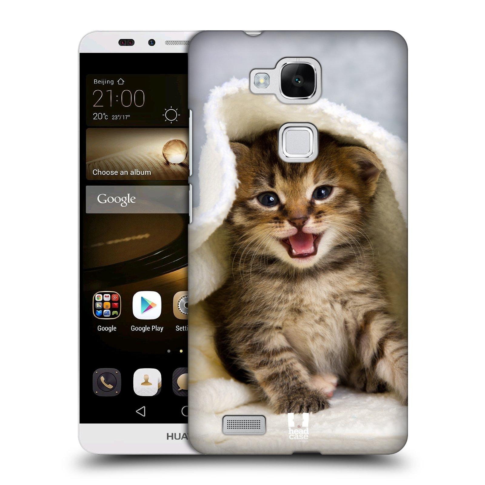 HEAD CASE plastový obal na mobil Huawei Mate 7 vzor Kočičky koťata foto kotě v ručníku