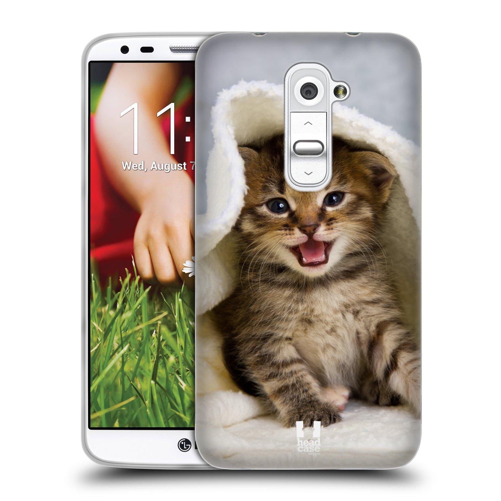 HEAD CASE silikonový obal na mobil LG G2 vzor Kočičky koťata foto kotě v ručníku