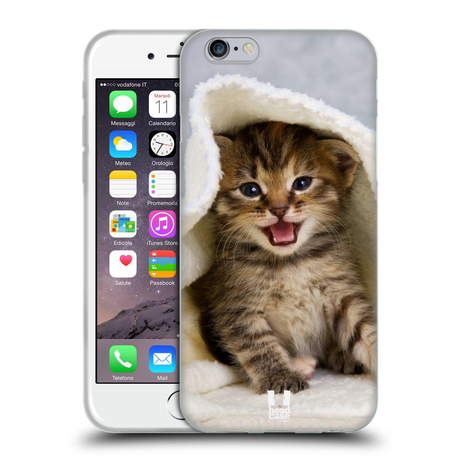 HEAD CASE silikonový obal na mobil Apple Iphone 6/6S vzor Kočičky koťata foto kotě v ručníku