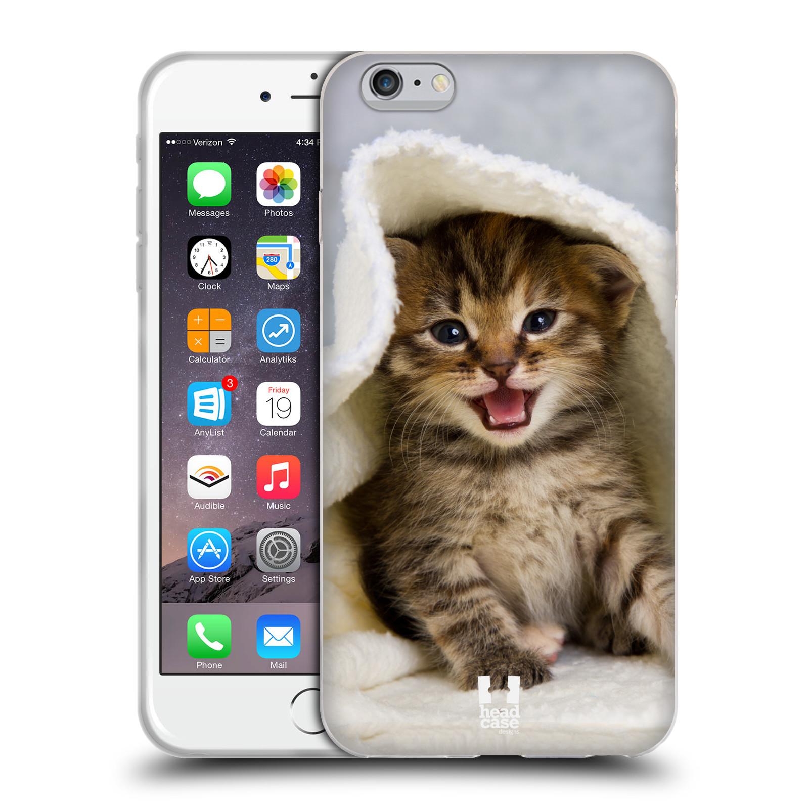 HEAD CASE silikonový obal na mobil Apple Iphone 6 PLUS/ 6S PLUS vzor Kočičky koťata foto kotě v ručníku