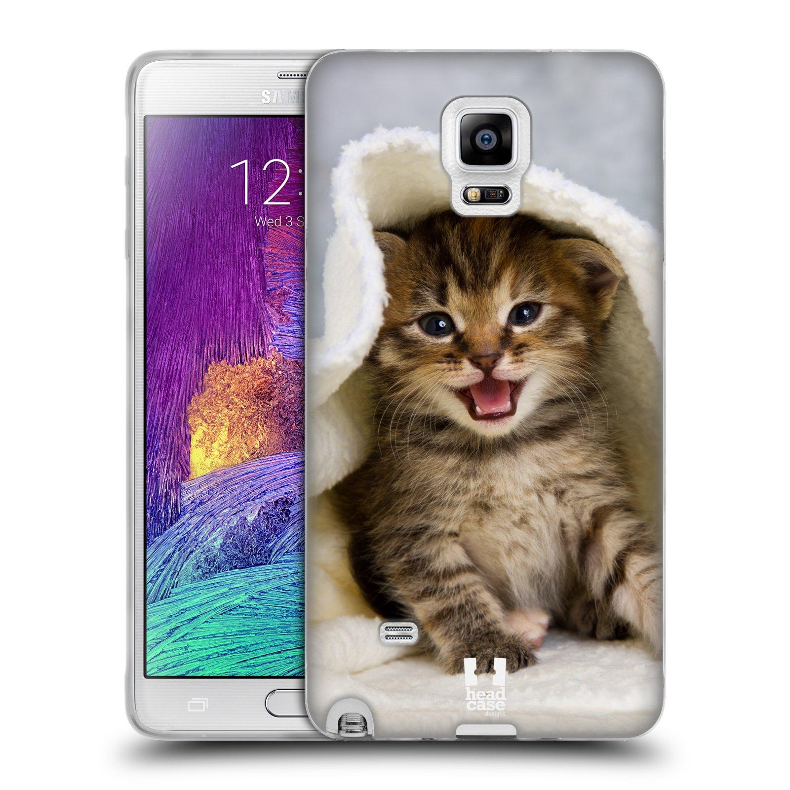 HEAD CASE silikonový obal na mobil Samsung Galaxy Note 4 (N910) vzor Kočičky koťata foto kotě v ručníku