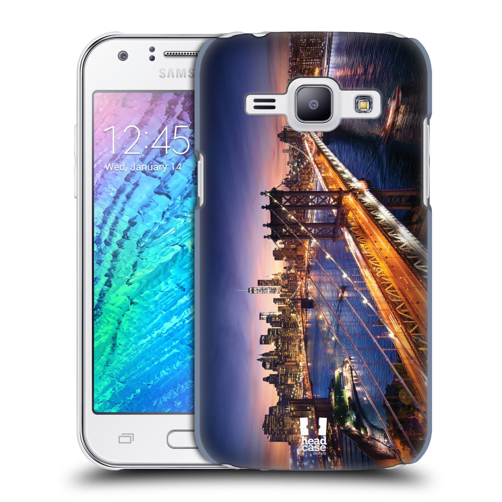 HEAD CASE plastový obal na mobil SAMSUNG Galaxy J1, J100 vzor Panoramata měst horizontální foto BROOKLYN MOST ZÁPAD SLUNCE