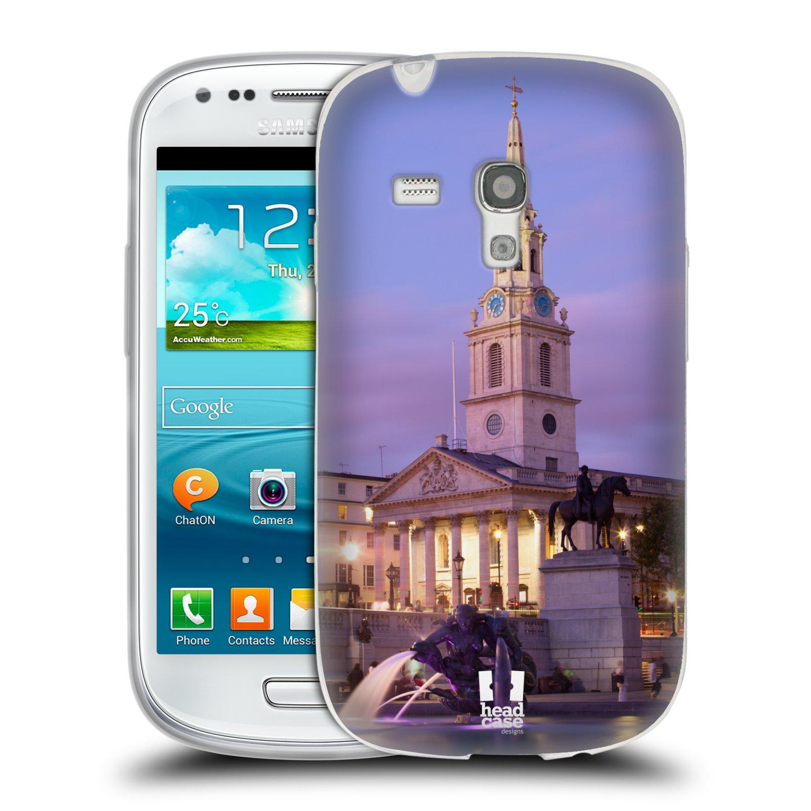 HEAD CASE silikonový obal na mobil Samsung Galaxy S3 MINI i8190 vzor Města foto náměstí ANGLIE, LONDÝN, TRAFALGAR VĚŽ HODINY