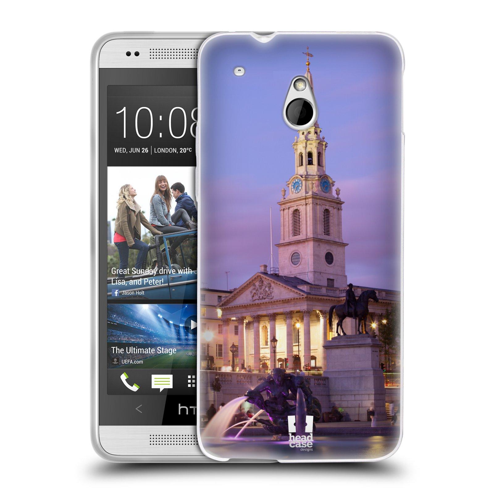 HEAD CASE silikonový obal na mobil HTC ONE MINI (M4) vzor Města foto náměstí ANGLIE, LONDÝN, TRAFALGAR VĚŽ HODINY