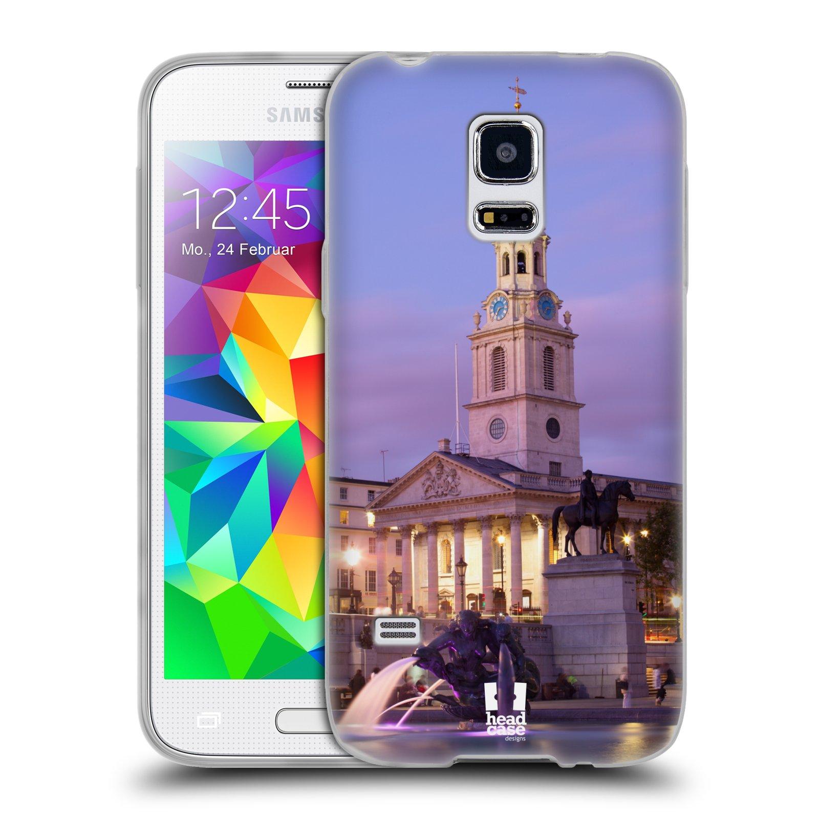 HEAD CASE silikonový obal na mobil Samsung Galaxy S5 MINI vzor Města foto náměstí ANGLIE, LONDÝN, TRAFALGAR VĚŽ HODINY