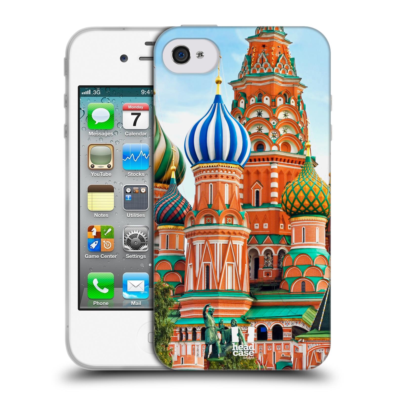 HEAD CASE silikonový obal na mobil Apple Iphone 4/4S vzor Města foto náměstí RUSKO,MOSKVA, RUDÉ NÁMĚSTÍ