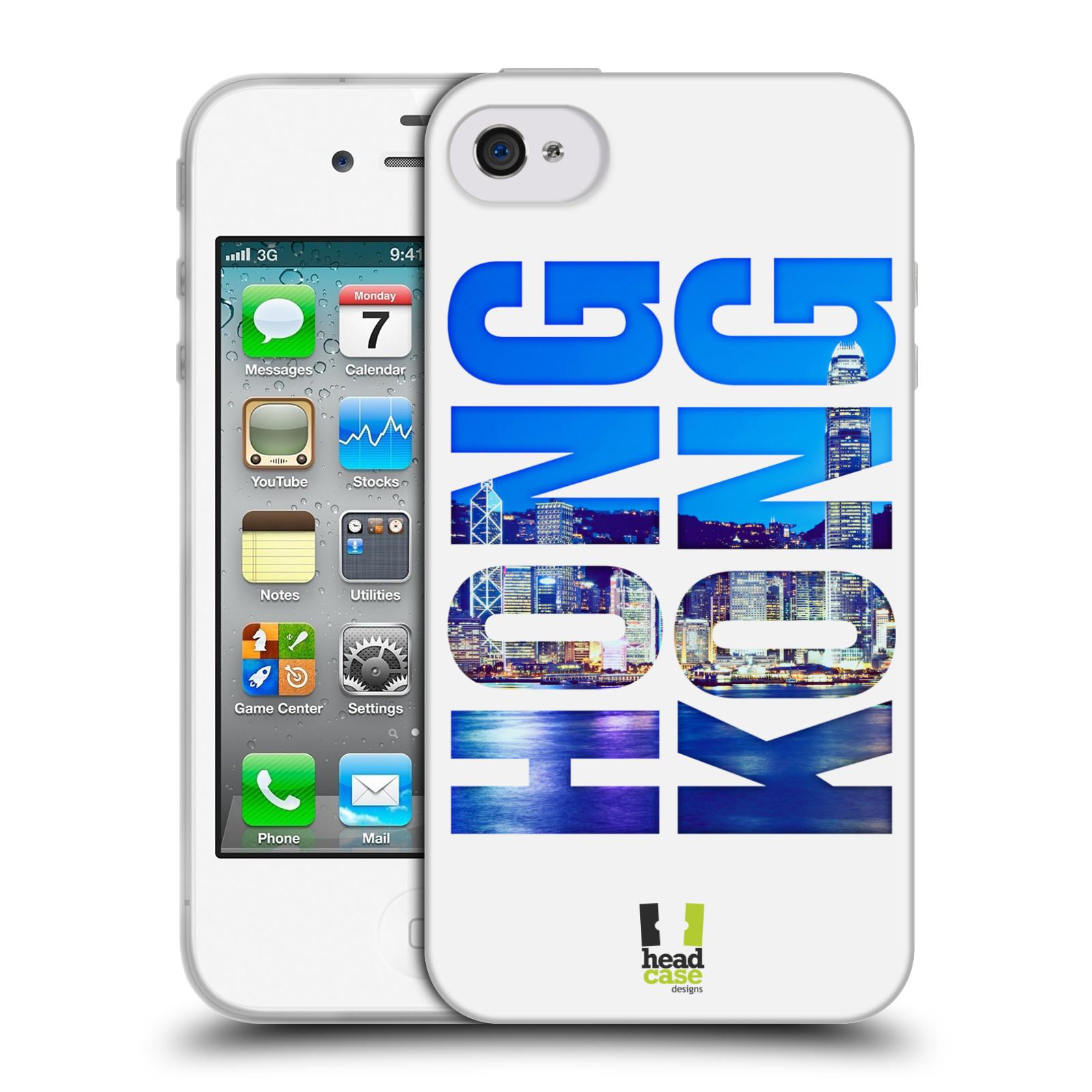 HEAD CASE silikonový obal na mobil Apple Iphone 4/4S vzor Města foto a nadpis ČÍNA, HONG KONG, MĚSTO
