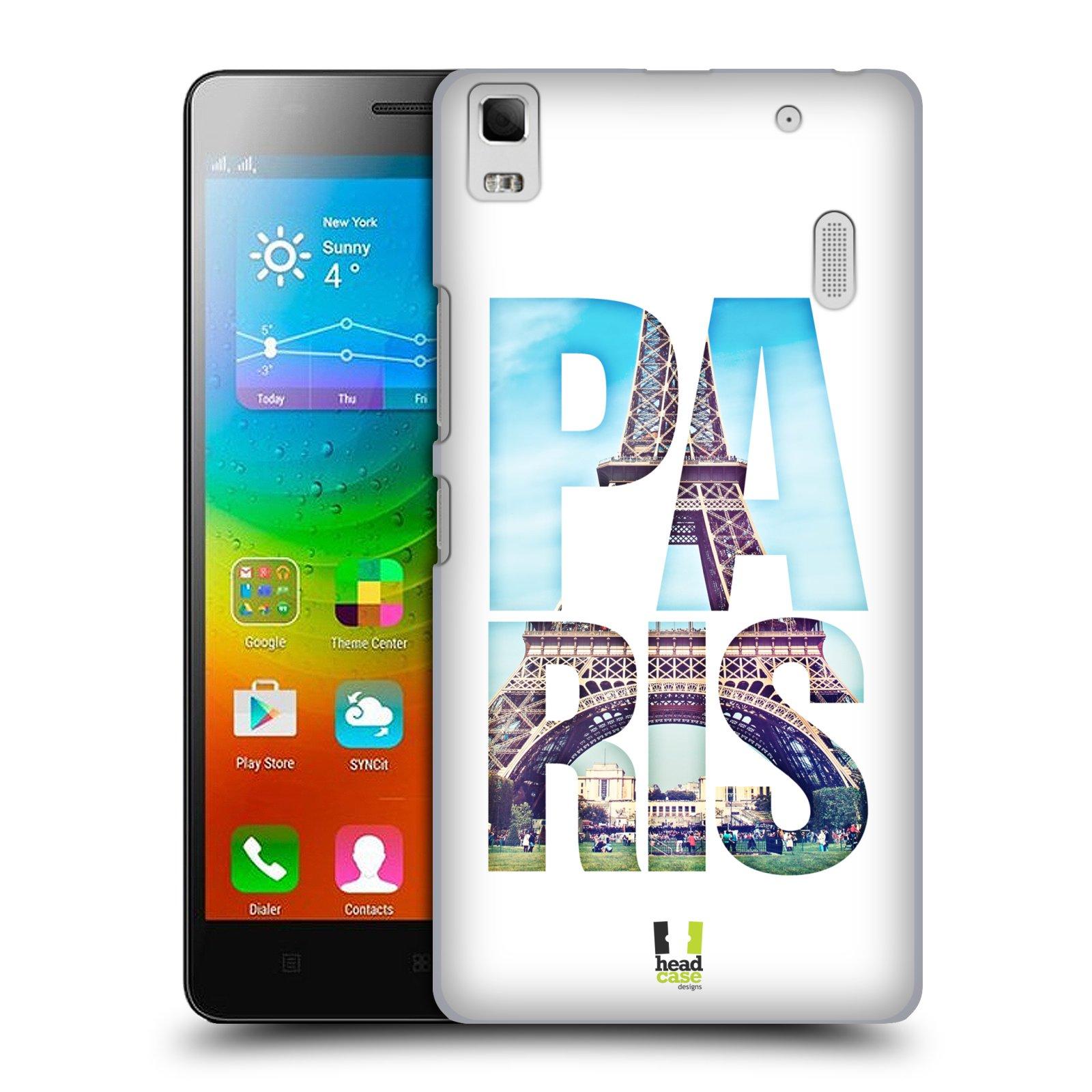 HEAD CASE pevný plastový obal na mobil LENOVO A7000 / A7000 DUAL / K3 NOTE vzor Města foto a nadpis FRANCIE, PAŘÍŽ, EIFFELOVA VĚŽ