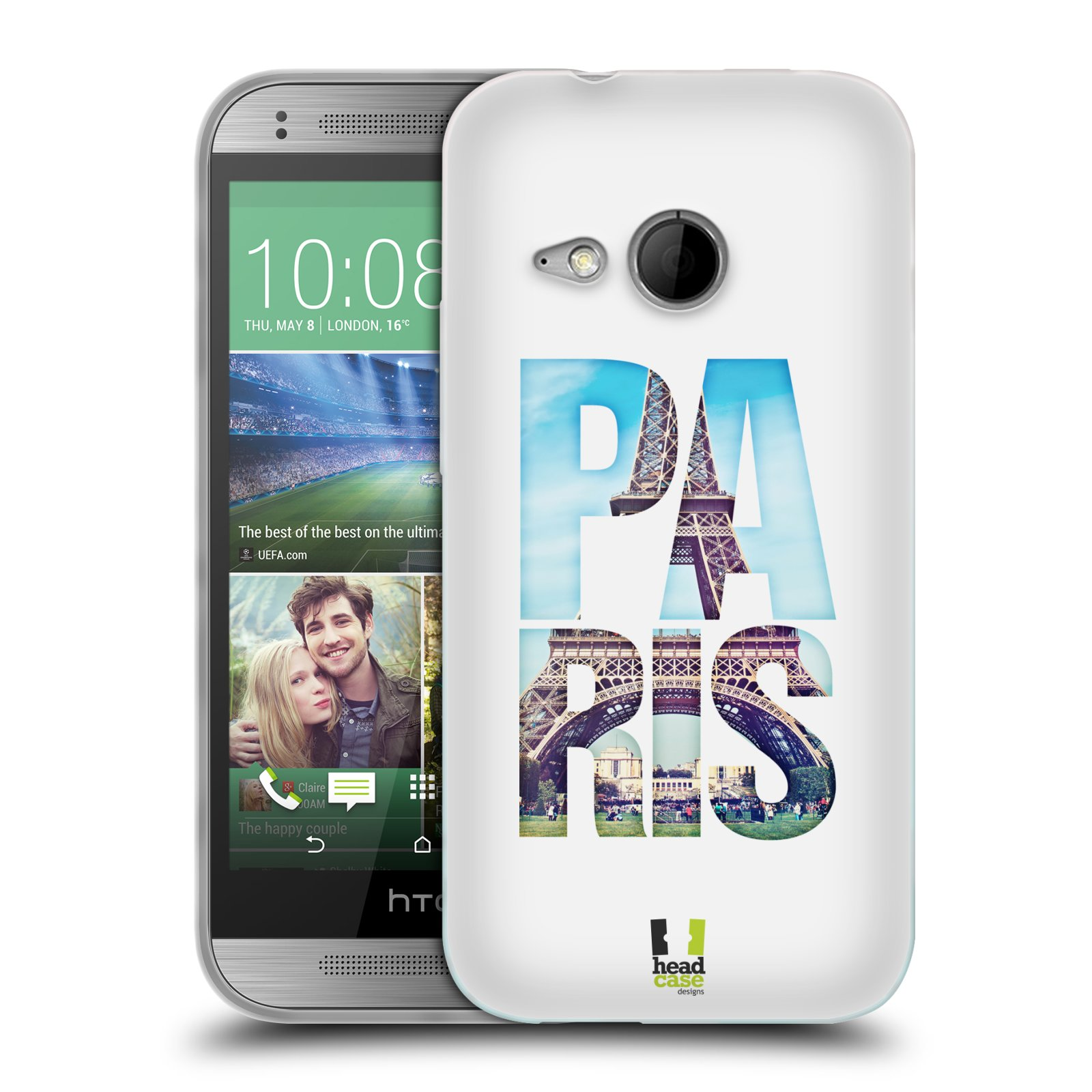 HEAD CASE silikonový obal na mobil HTC ONE MINI 2 vzor Města foto a nadpis FRANCIE, PAŘÍŽ, EIFFELOVA VĚŽ