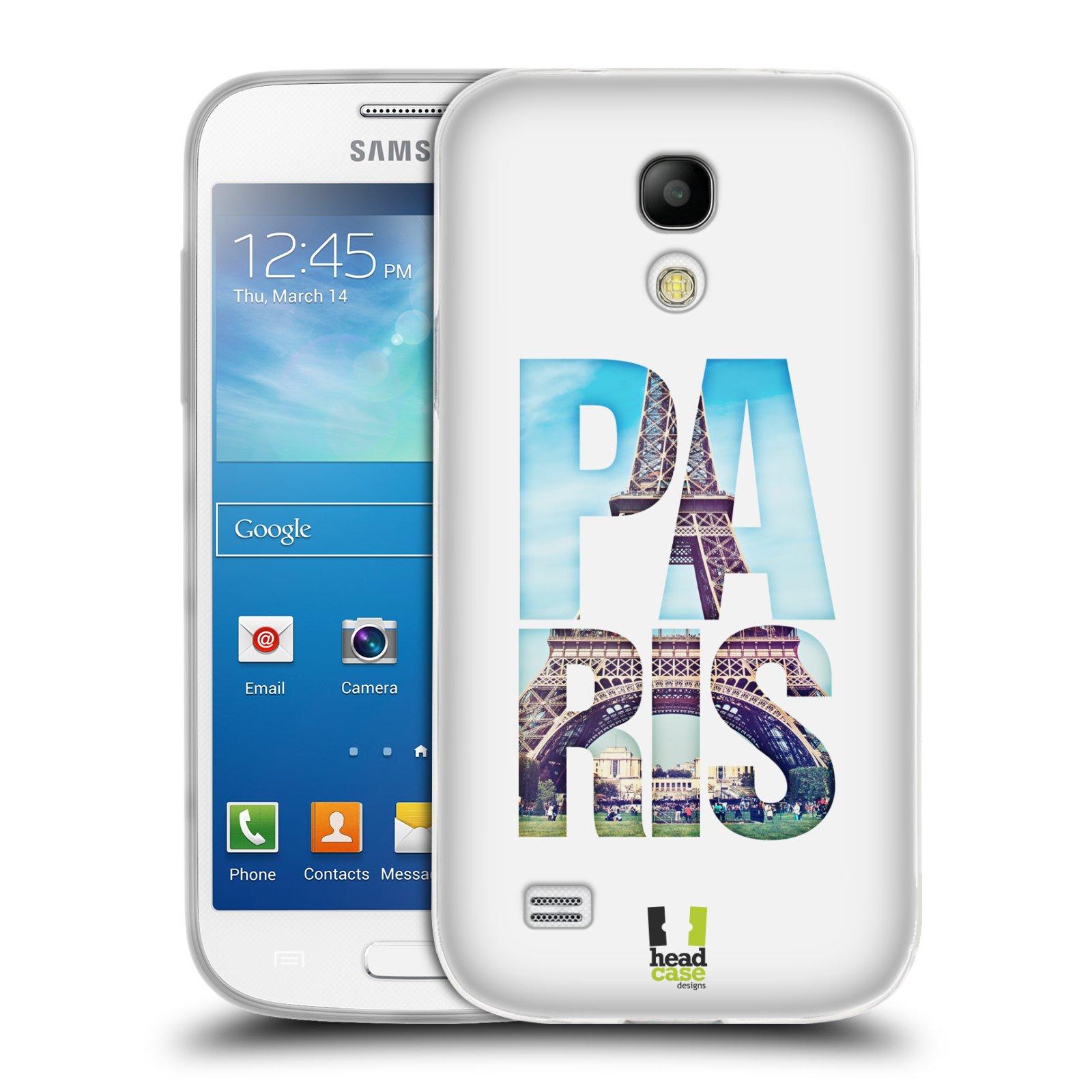 HEAD CASE silikonový obal na mobil Samsung Galaxy S4 MINI vzor Města foto a nadpis FRANCIE, PAŘÍŽ, EIFFELOVA VĚŽ