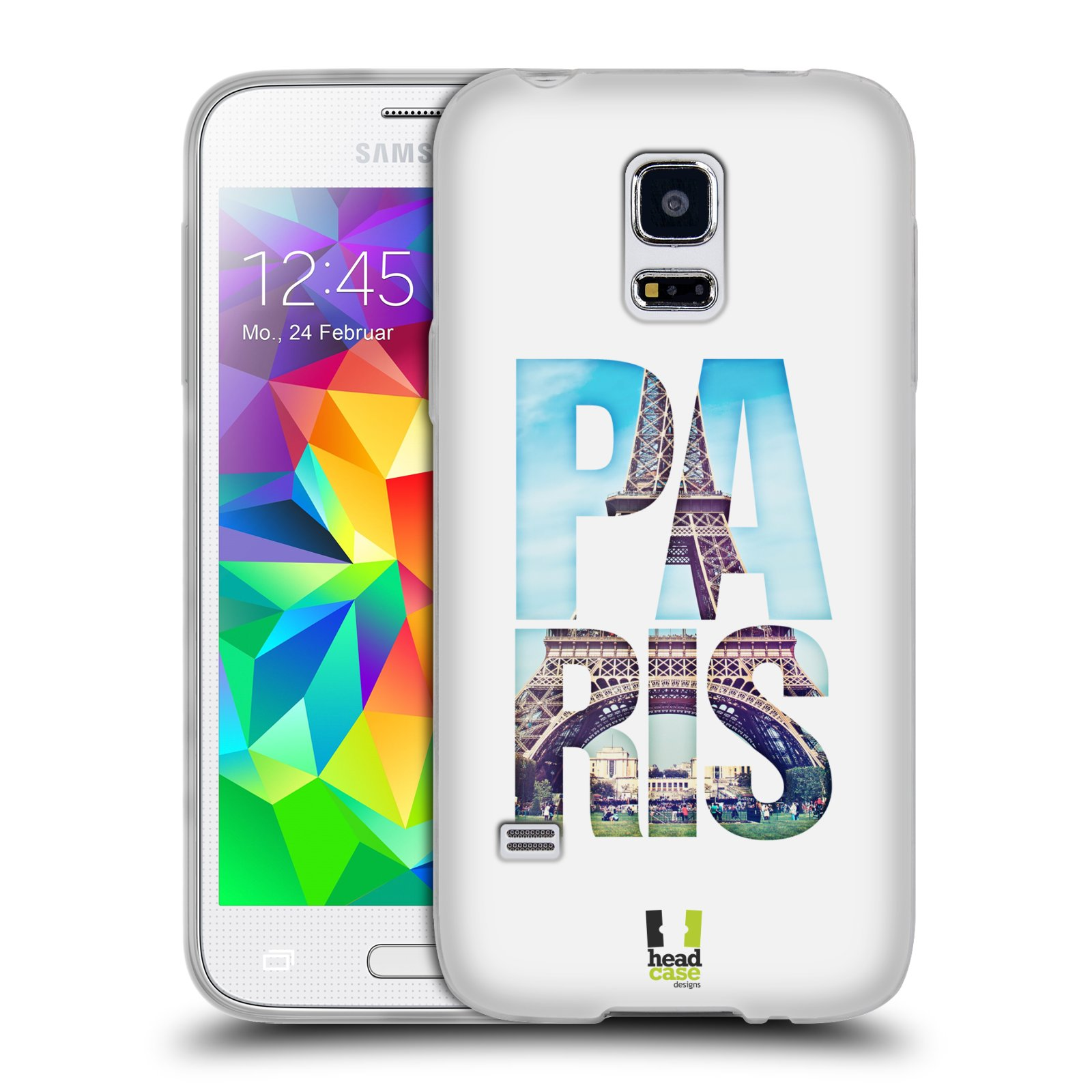 HEAD CASE silikonový obal na mobil Samsung Galaxy S5 MINI vzor Města foto a nadpis FRANCIE, PAŘÍŽ, EIFFELOVA VĚŽ