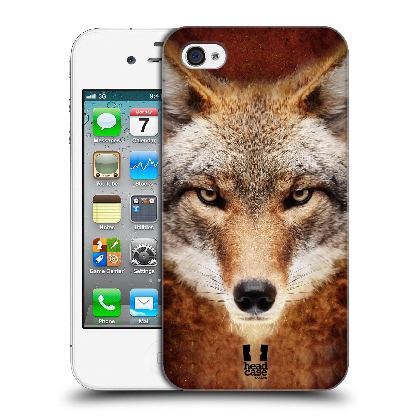 HEAD CASE plastový obal na mobil Apple Iphone 4/4S vzor Zvířecí tváře kojot