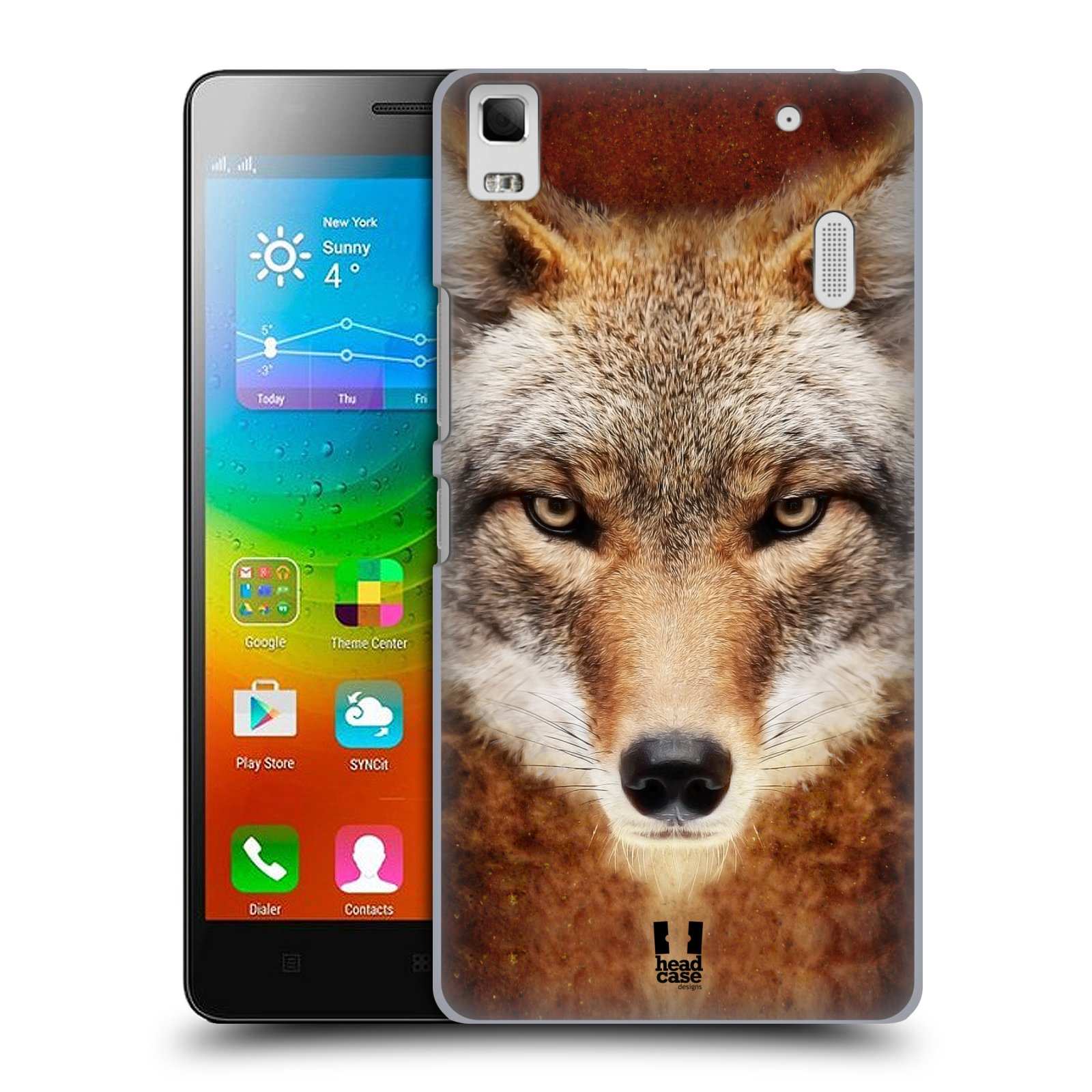 HEAD CASE pevný plastový obal na mobil LENOVO A7000 / A7000 DUAL / K3 NOTE vzor Zvířecí tváře kojot
