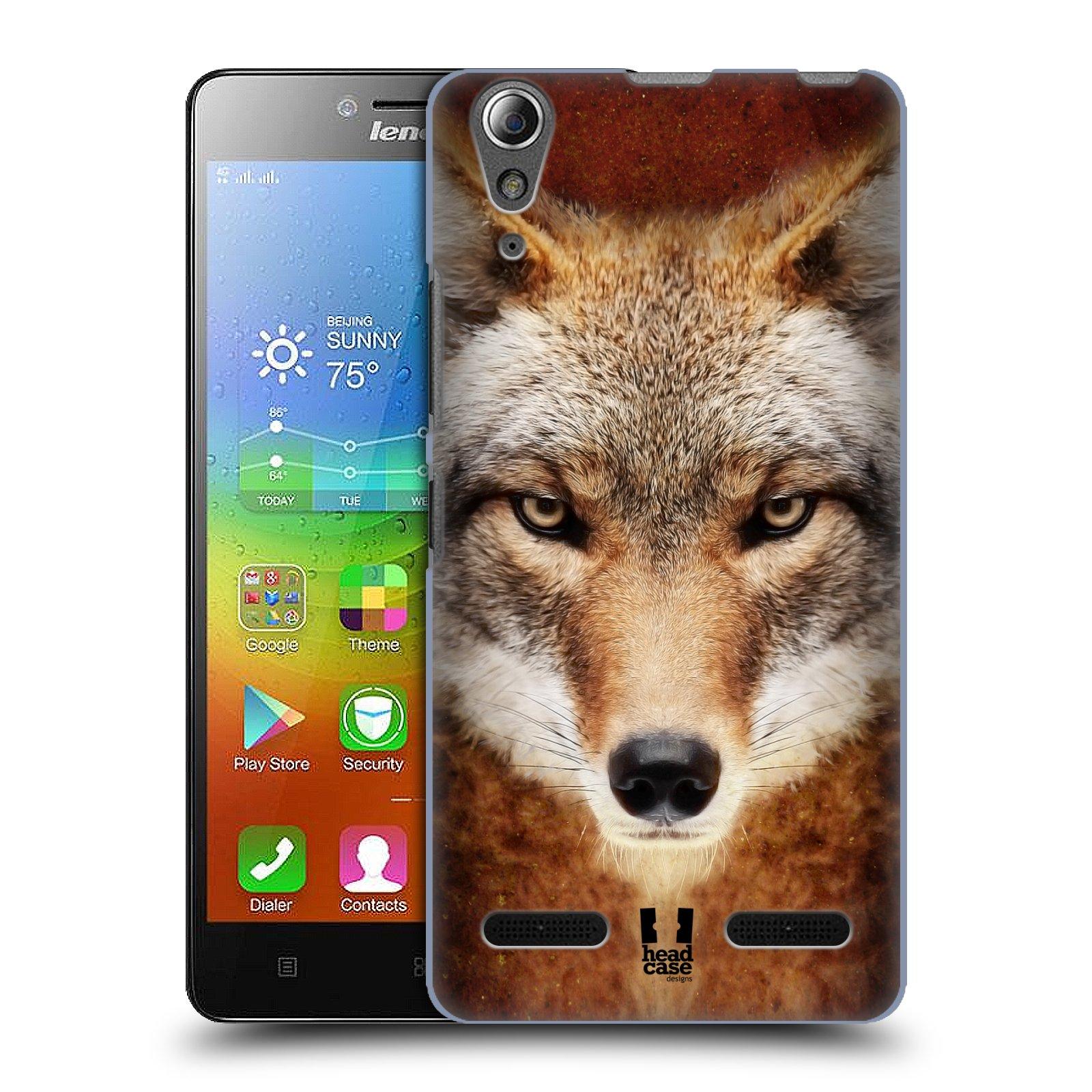 HEAD CASE pevný plastový obal na mobil LENOVO A6000 / A6000 PLUS vzor Zvířecí tváře kojot