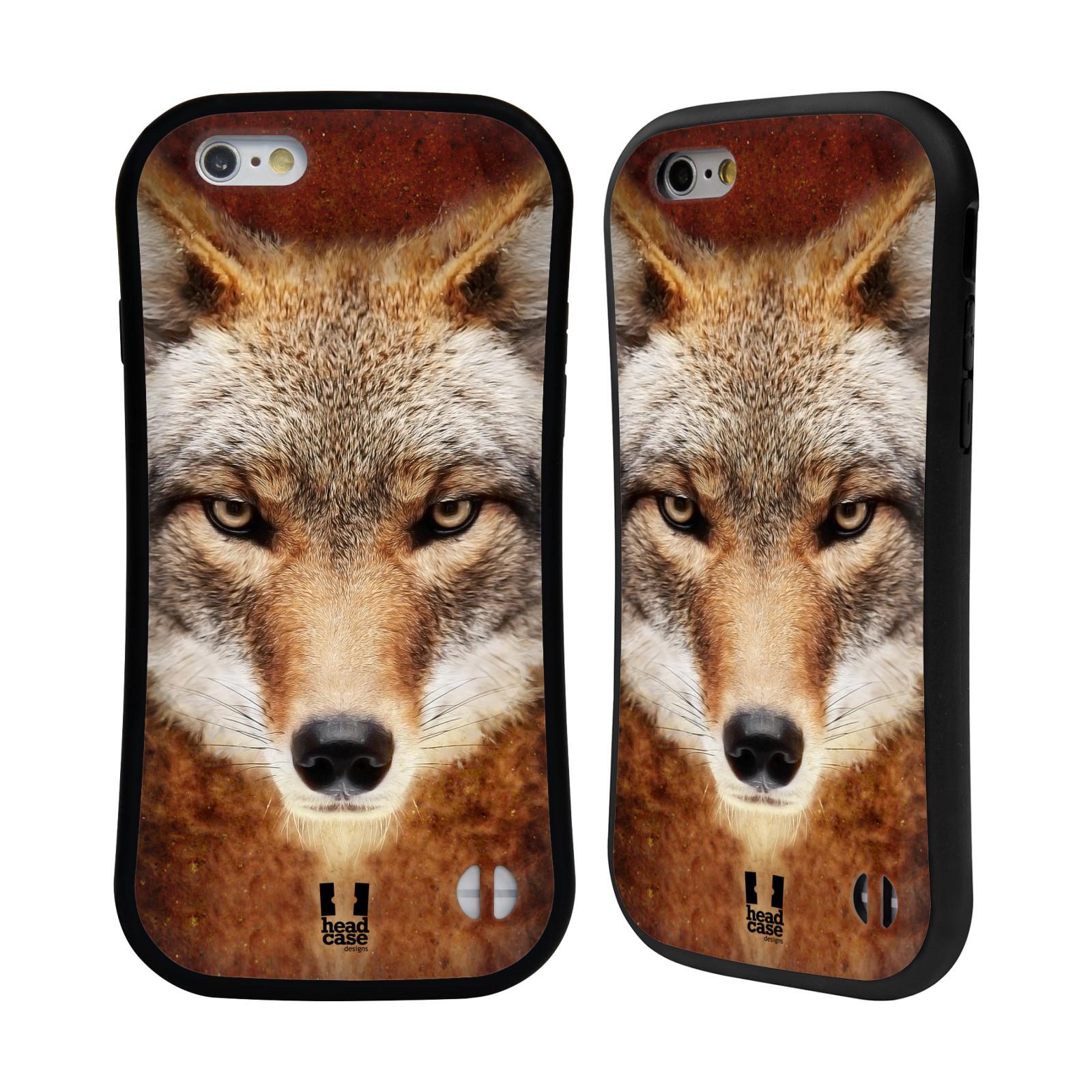 HEAD CASE silikon/plast odolný obal na mobil Apple Iphone 6/6S vzor Zvířecí tváře kojot