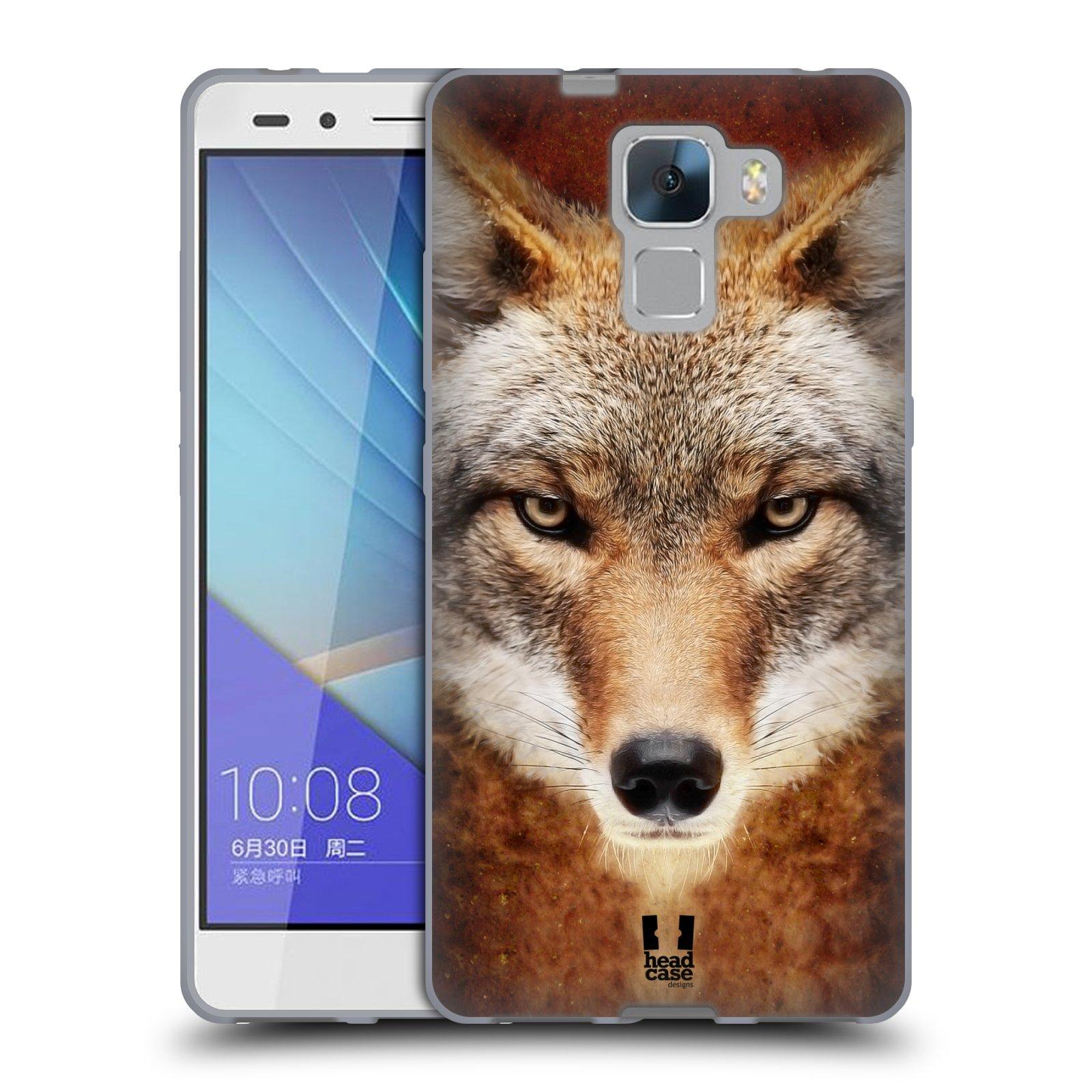 HEAD CASE silikonový obal na mobil HUAWEI HONOR 7 vzor Zvířecí tváře kojot