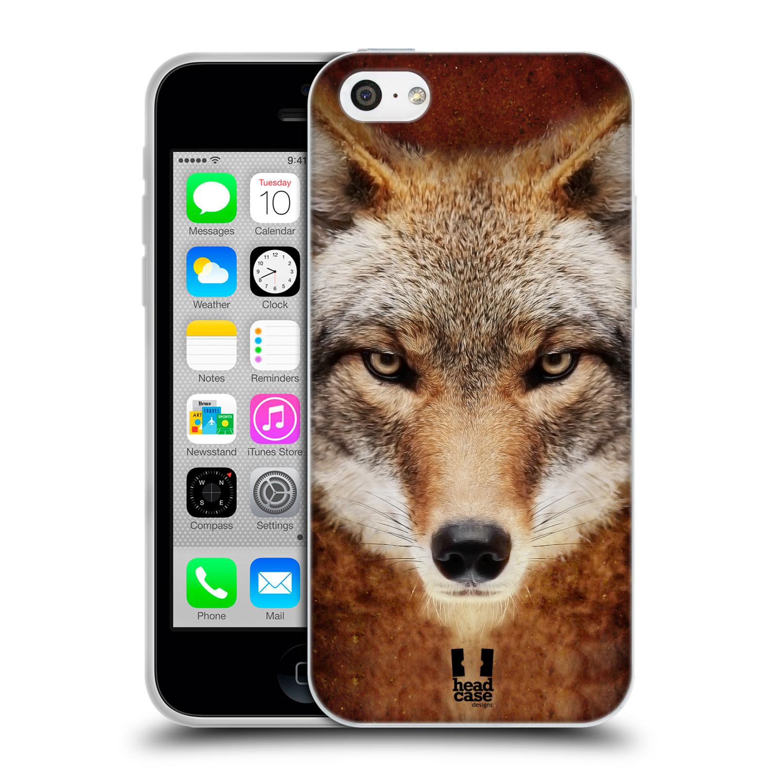 HEAD CASE silikonový obal na mobil Apple Iphone 5C vzor Zvířecí tváře kojot