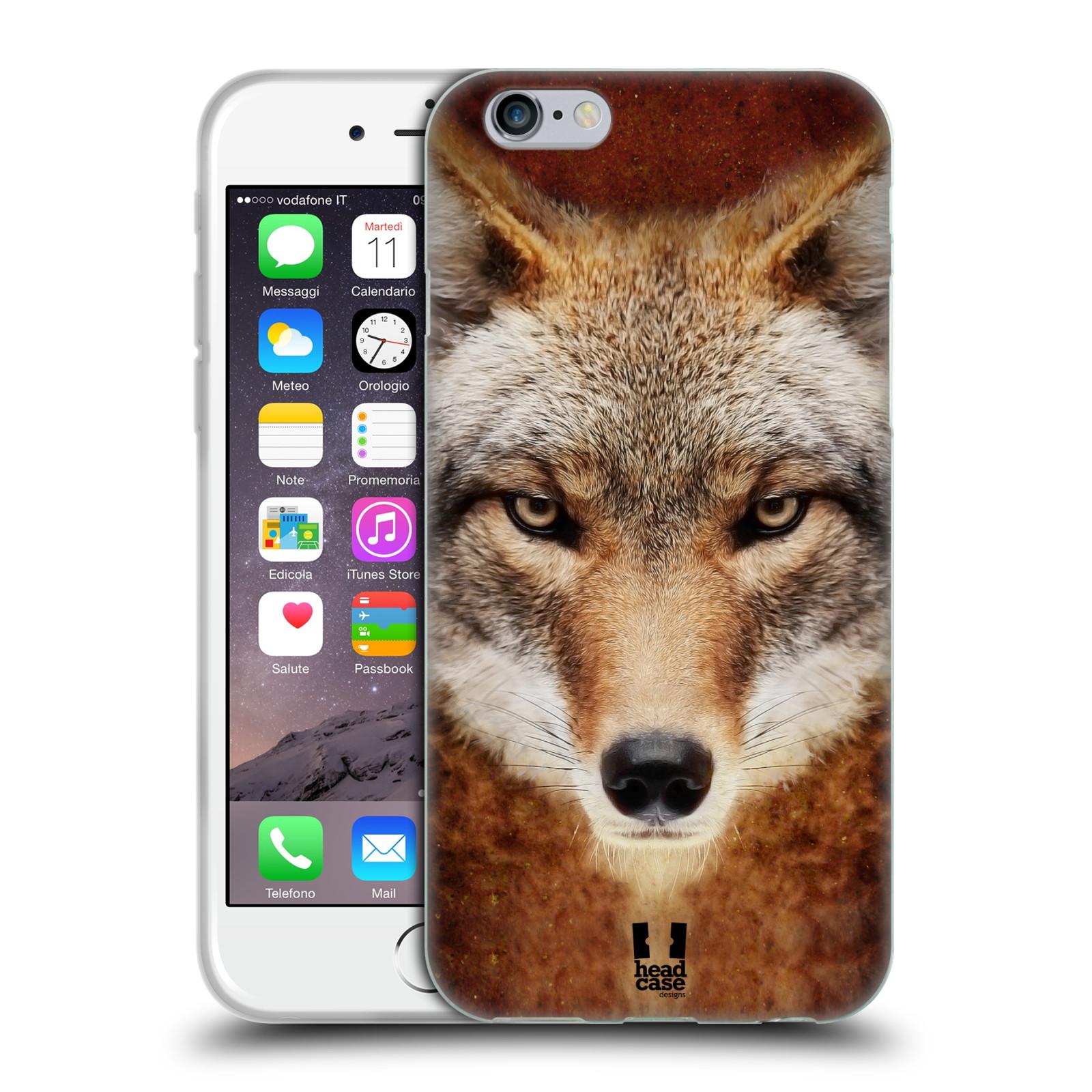 HEAD CASE silikonový obal na mobil Apple Iphone 6/6S vzor Zvířecí tváře kojot