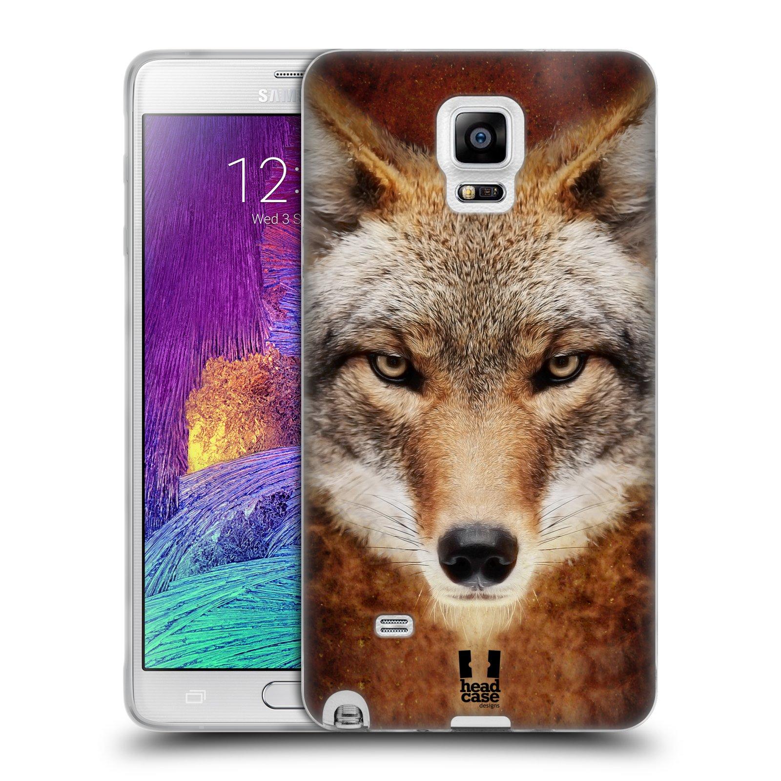 HEAD CASE silikonový obal na mobil Samsung Galaxy Note 4 (N910) vzor Zvířecí tváře kojot