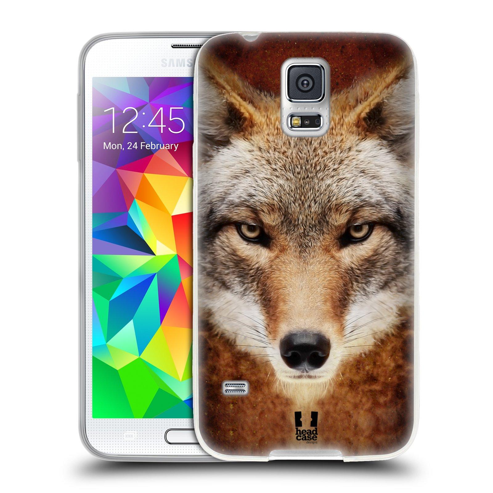 HEAD CASE silikonový obal na mobil Samsung Galaxy S5/S5 NEO vzor Zvířecí tváře kojot