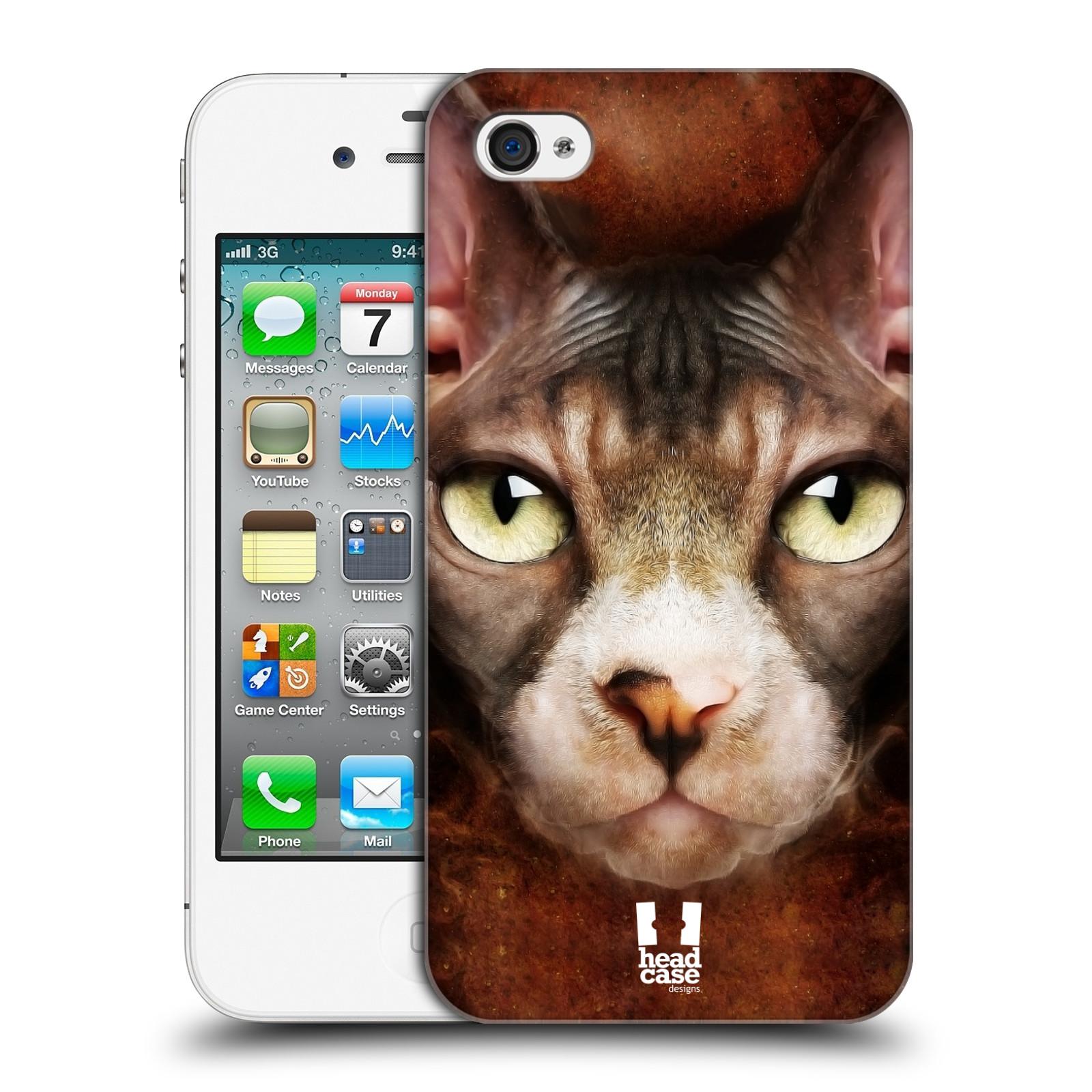HEAD CASE plastový obal na mobil Apple Iphone 4/4S vzor Zvířecí tváře kočka sphynx
