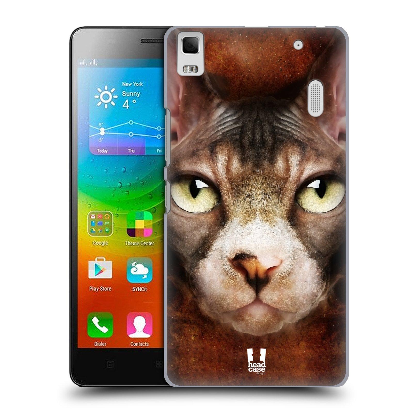 HEAD CASE pevný plastový obal na mobil LENOVO A7000 / A7000 DUAL / K3 NOTE vzor Zvířecí tváře kočka sphynx