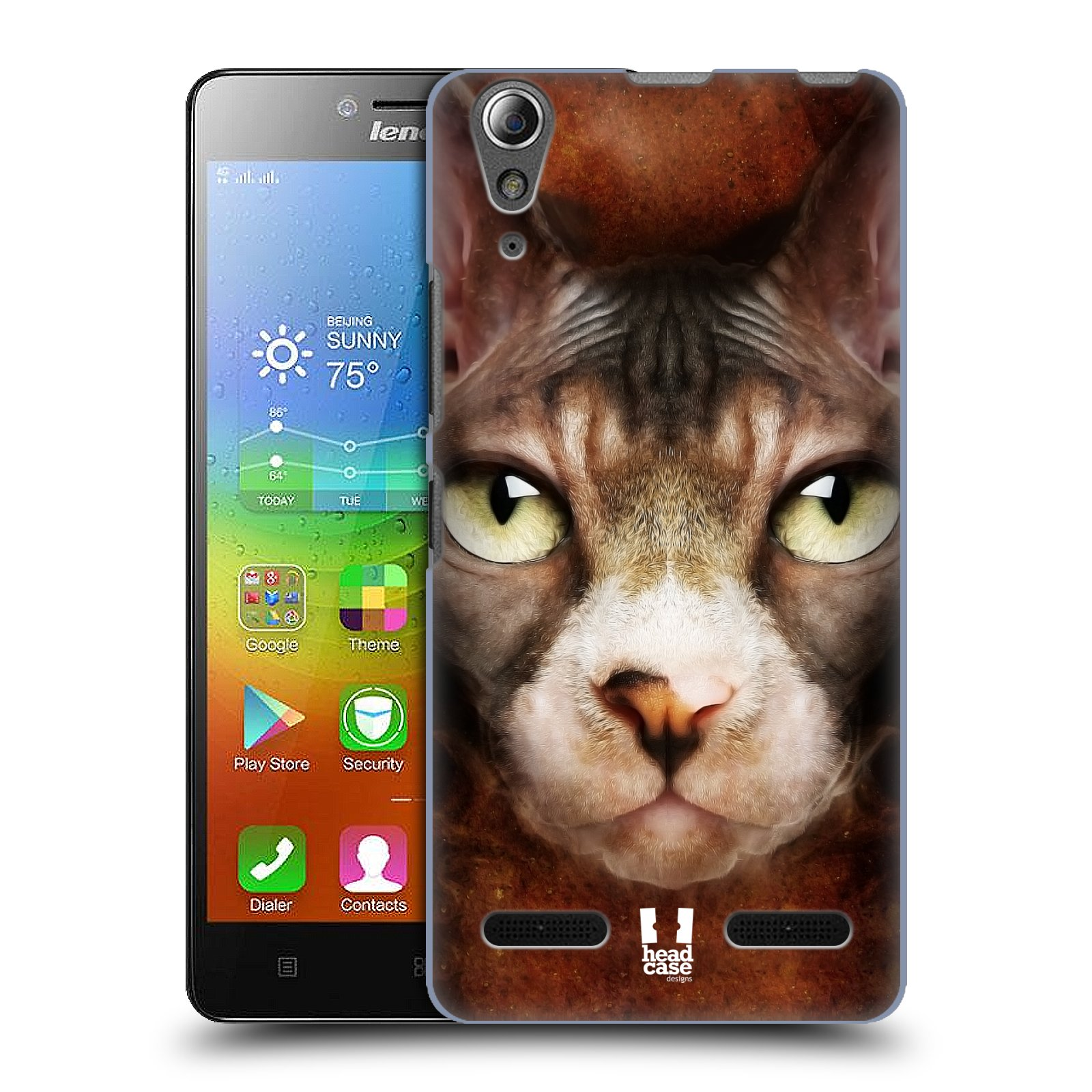 HEAD CASE pevný plastový obal na mobil LENOVO A6000 / A6000 PLUS vzor Zvířecí tváře kočka sphynx