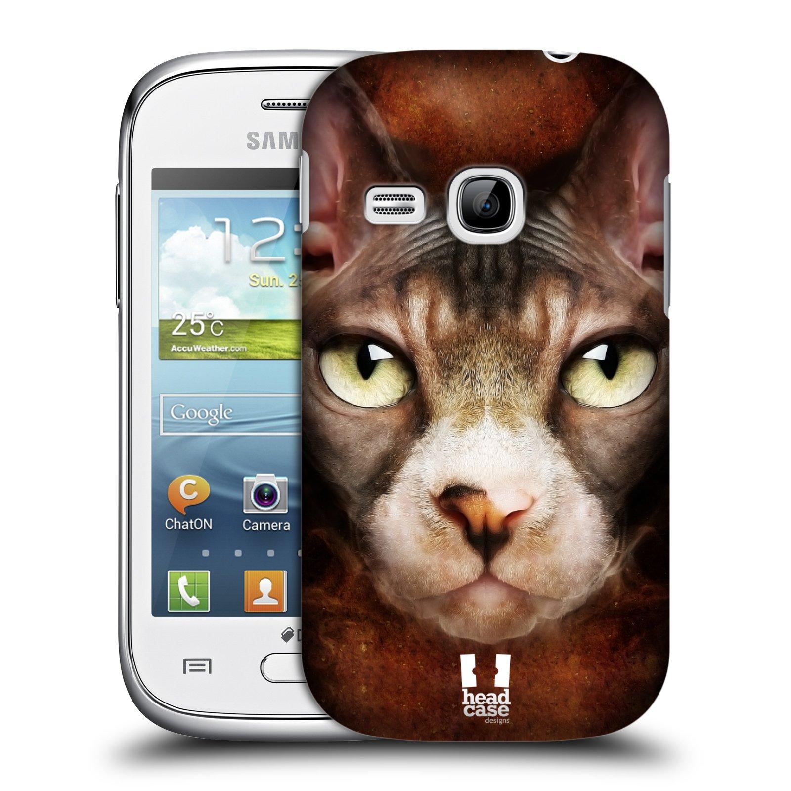 HEAD CASE plastový obal na mobil SAMSUNG Galaxy Young S6310 vzor Zvířecí tváře kočka sphynx
