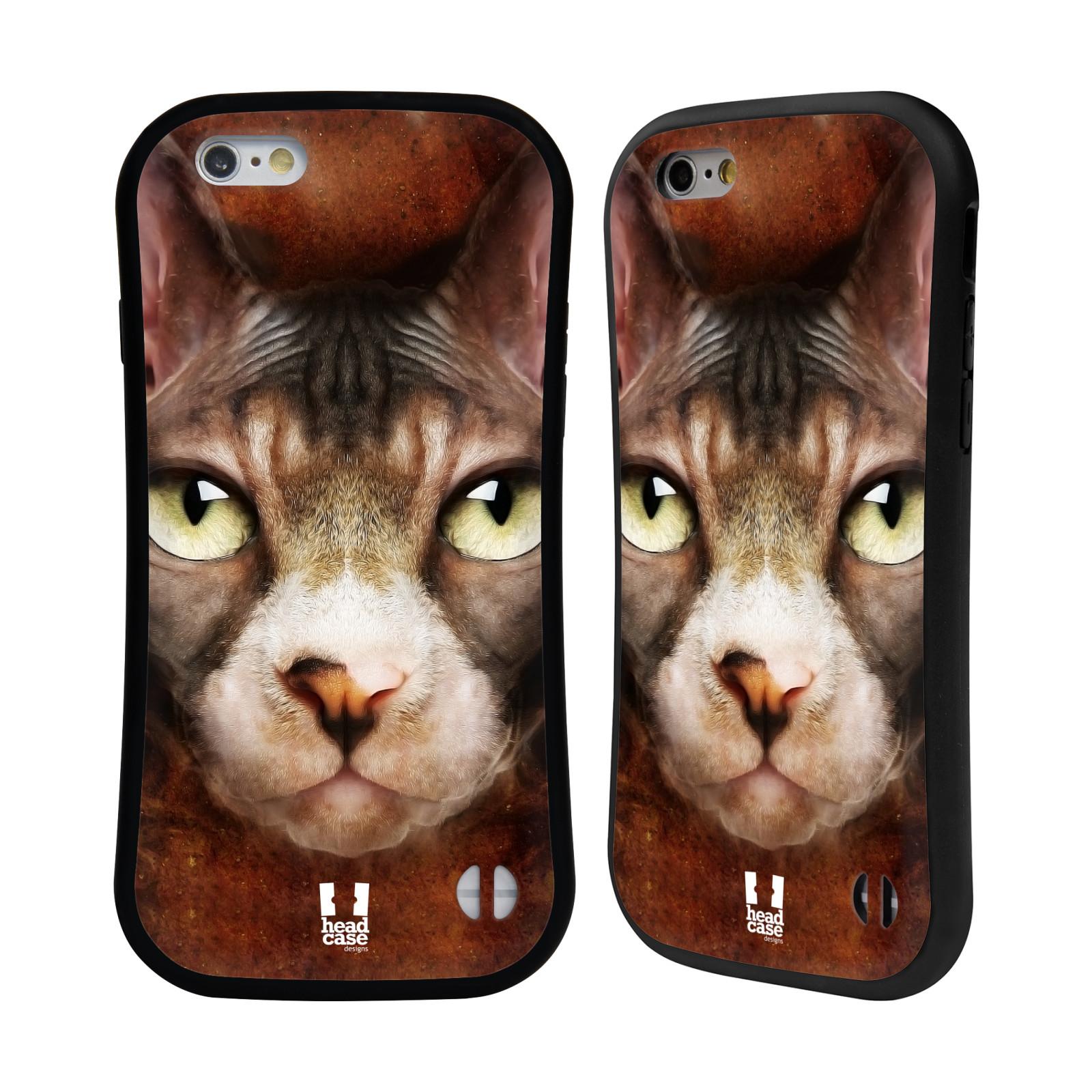 HEAD CASE silikon/plast odolný obal na mobil Apple Iphone 6/6S vzor Zvířecí tváře kočka sphynx