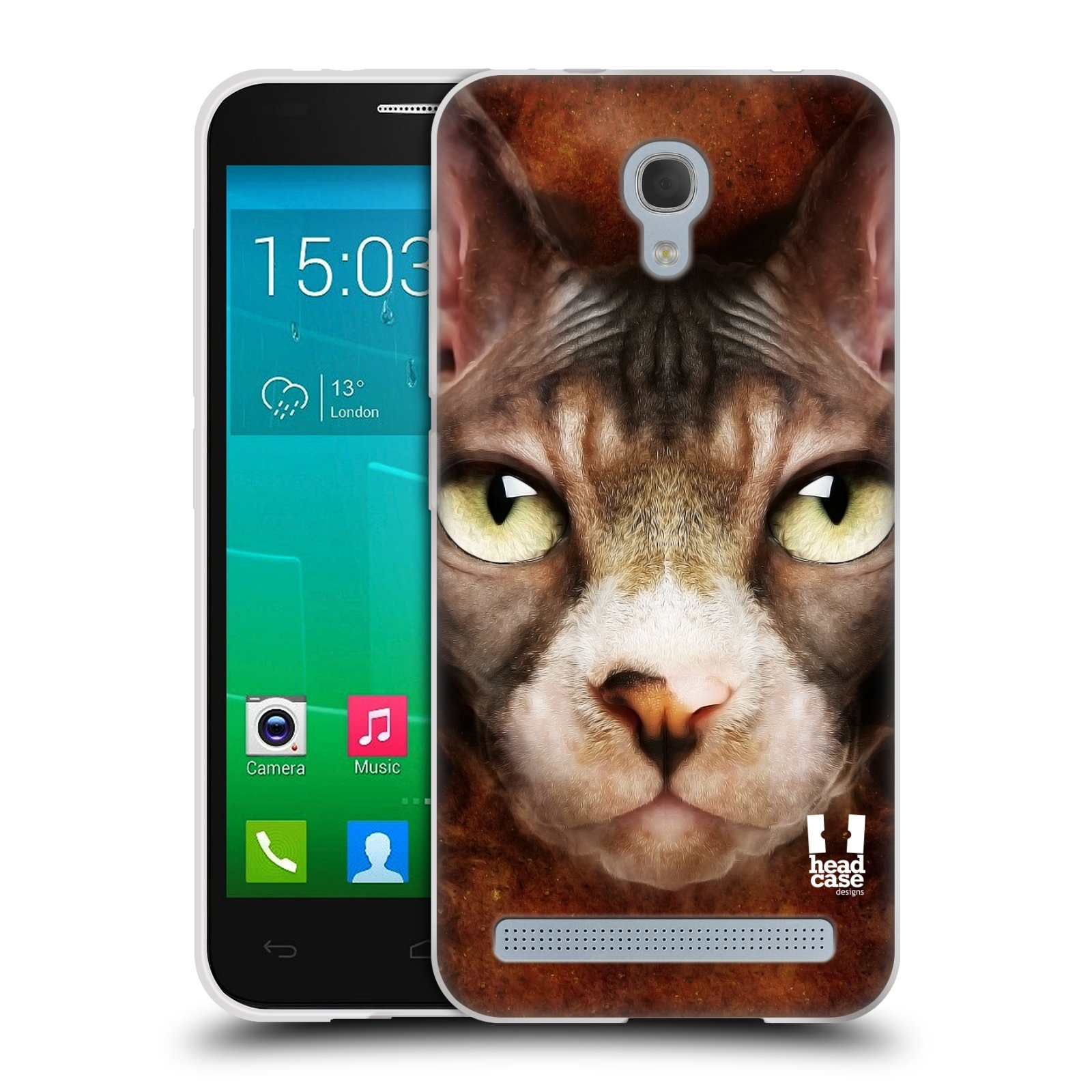 HEAD CASE silikonový obal na mobil Alcatel Idol 2 MINI S 6036Y vzor Zvířecí tváře kočka sphynx