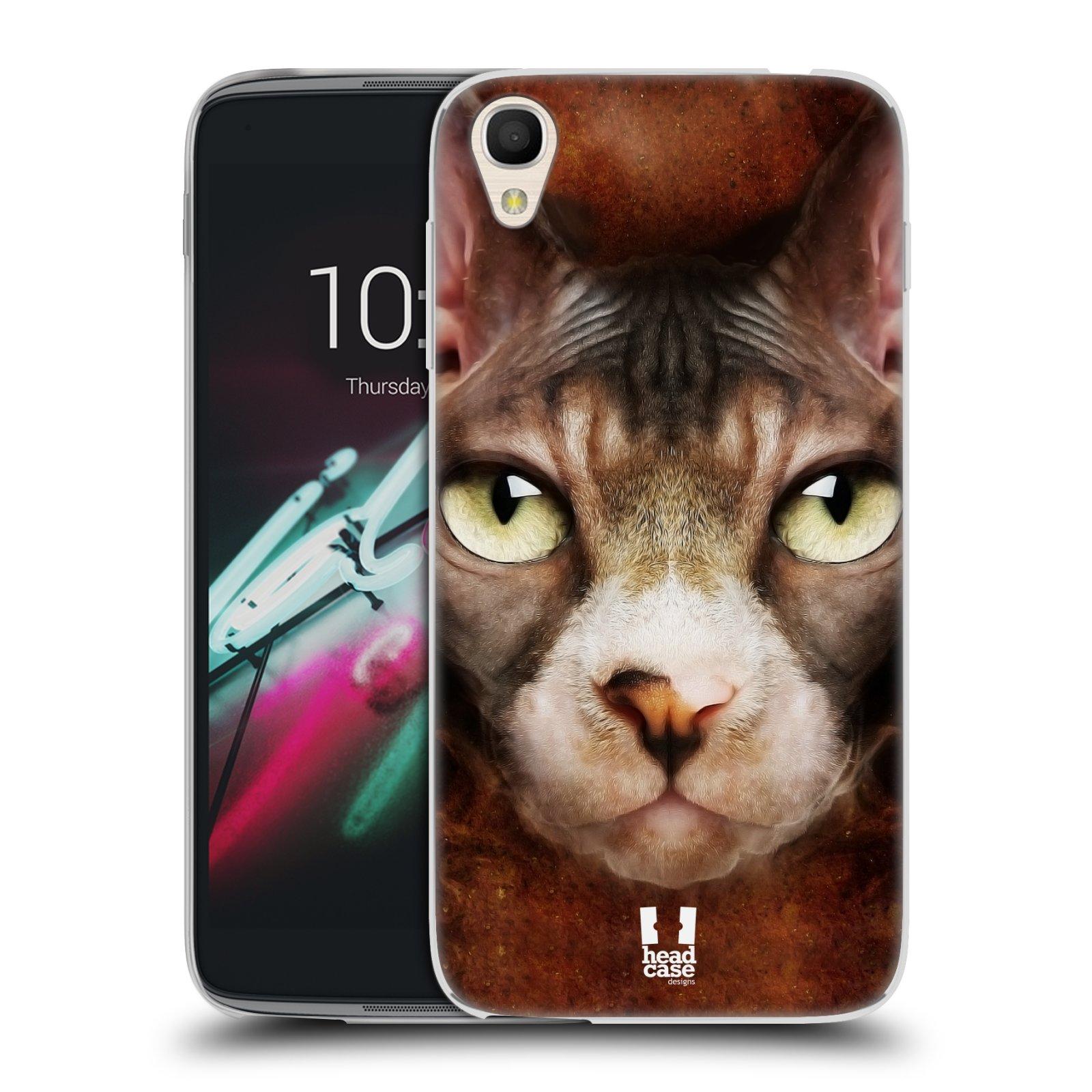 HEAD CASE silikonový obal na mobil Alcatel Idol 3 OT-6039Y (4.7) vzor Zvířecí tváře kočka sphynx