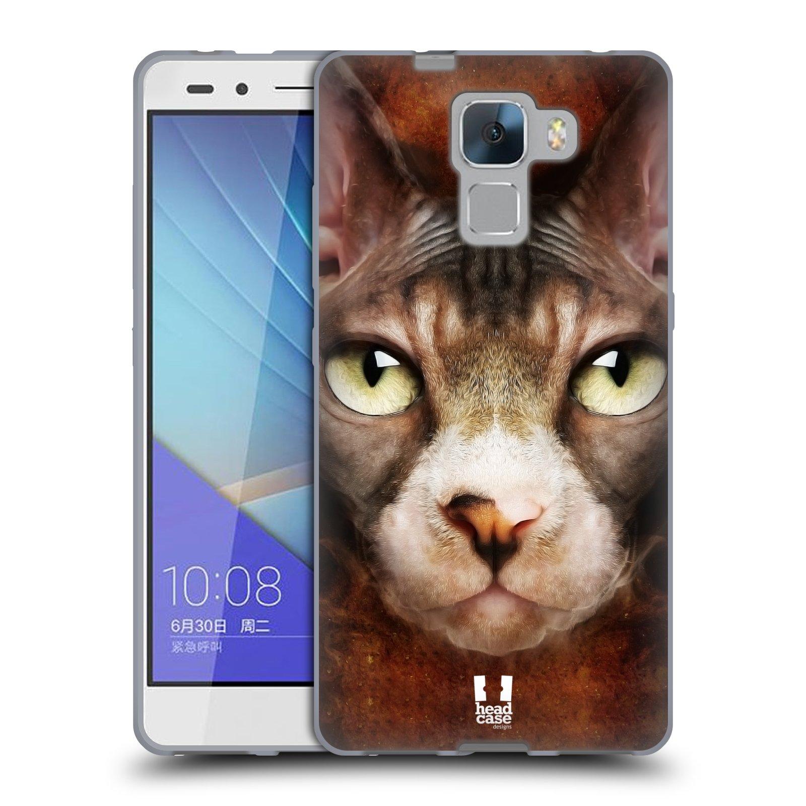 HEAD CASE silikonový obal na mobil HUAWEI HONOR 7 vzor Zvířecí tváře kočka sphynx