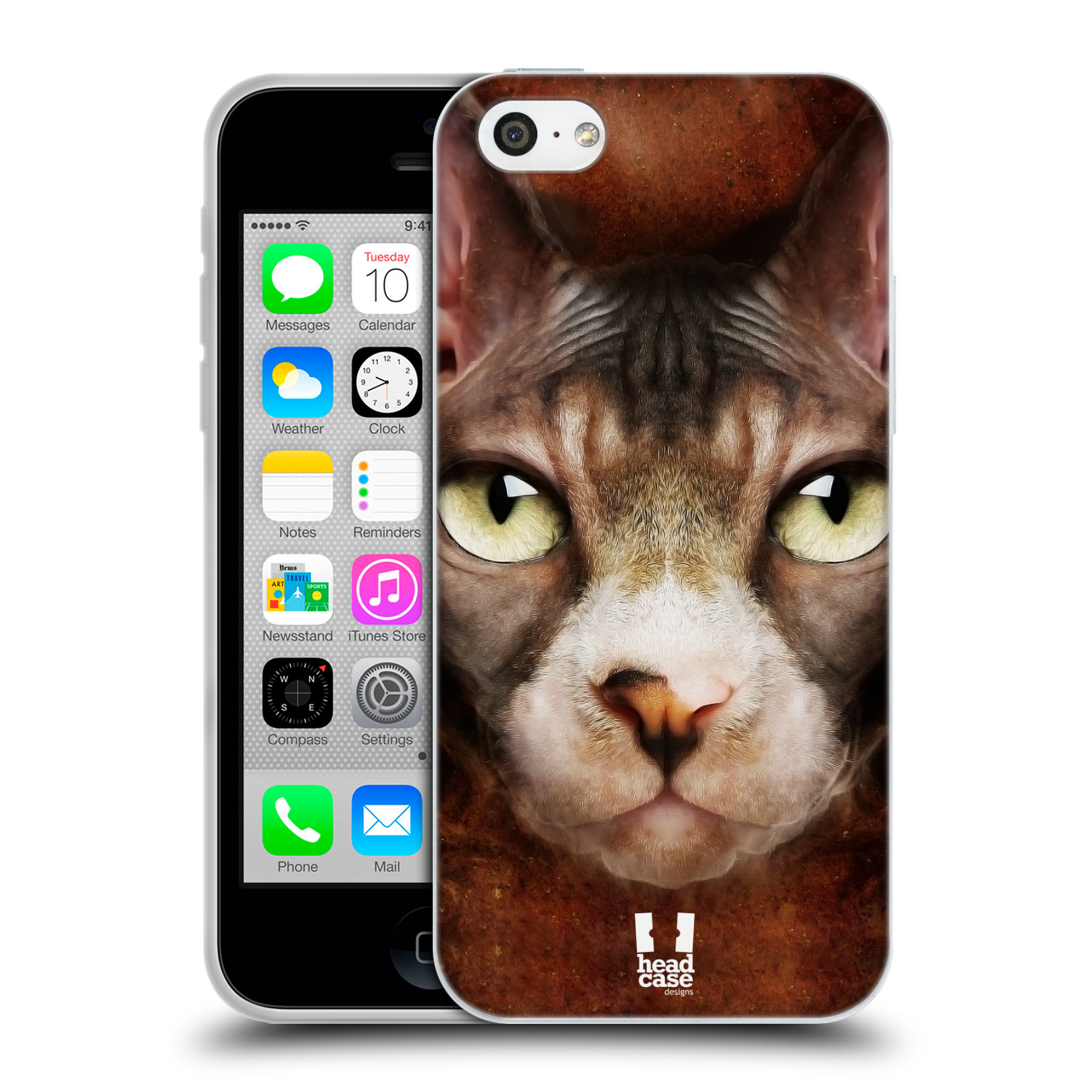 HEAD CASE silikonový obal na mobil Apple Iphone 5C vzor Zvířecí tváře kočka sphynx