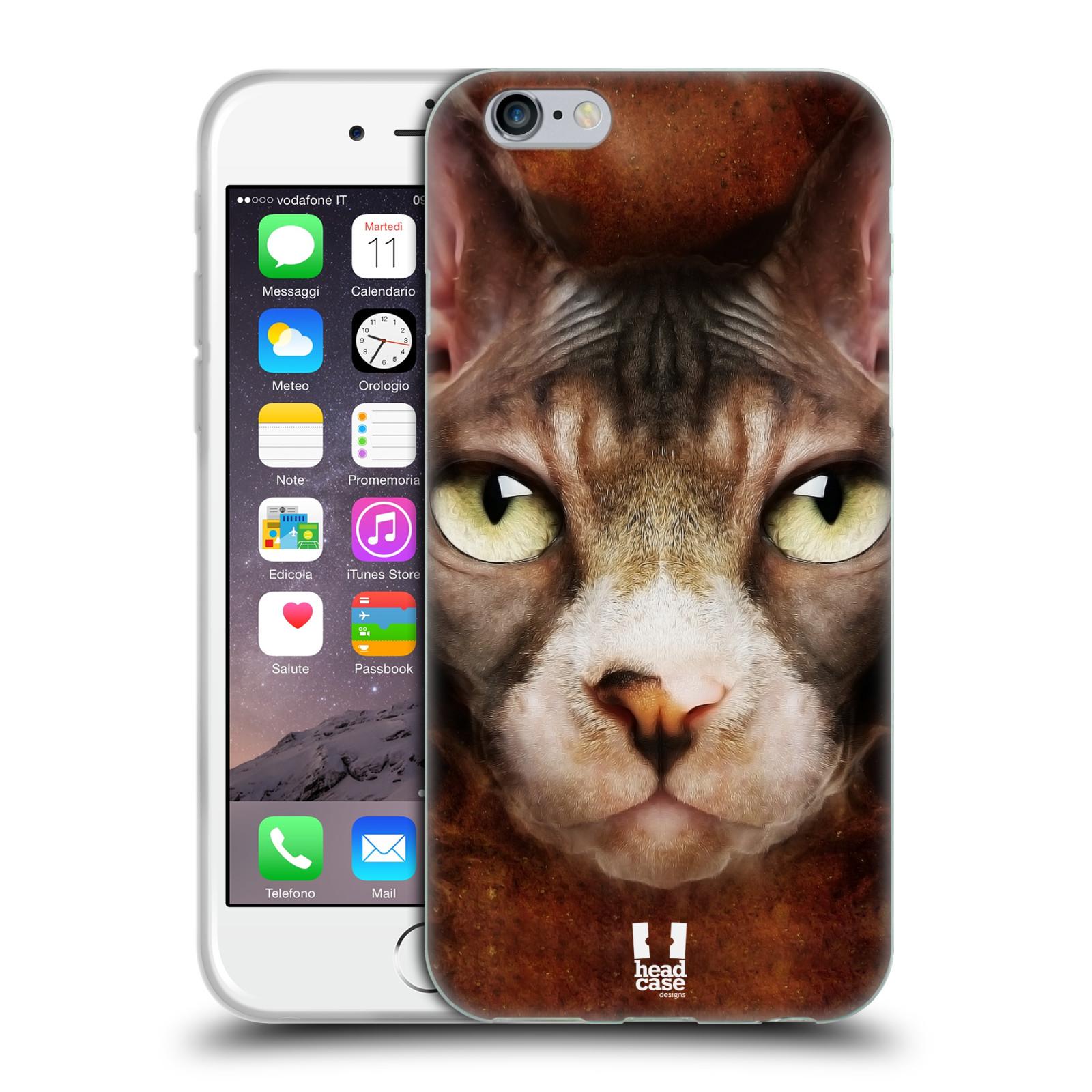 HEAD CASE silikonový obal na mobil Apple Iphone 6/6S vzor Zvířecí tváře kočka sphynx