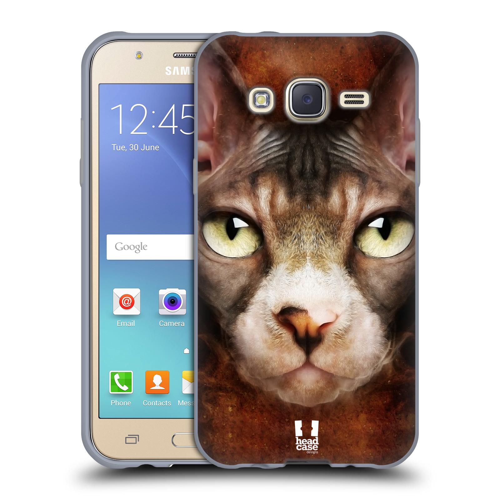 HEAD CASE silikonový obal na mobil Samsung Galaxy J5, J500, (J5 DUOS) vzor Zvířecí tváře kočka sphynx