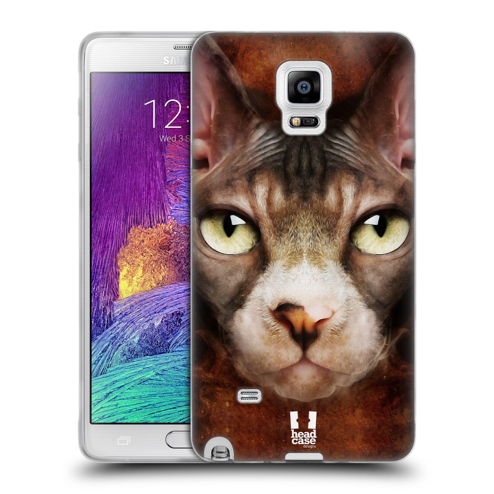 HEAD CASE silikonový obal na mobil Samsung Galaxy Note 4 (N910) vzor Zvířecí tváře kočka sphynx