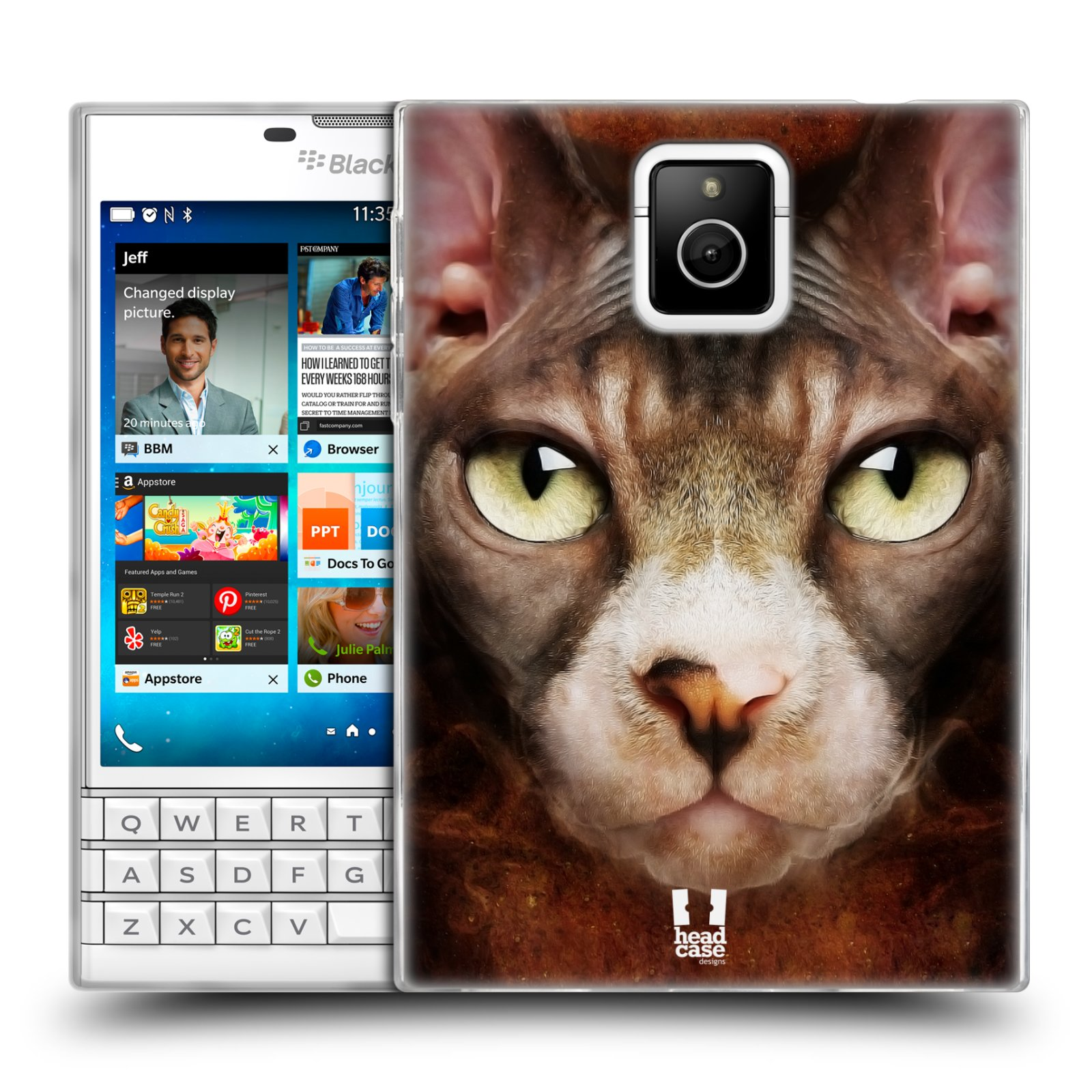 HEAD CASE silikonový obal na mobil Blackberry PASSPORT vzor Zvířecí tváře kočka sphynx