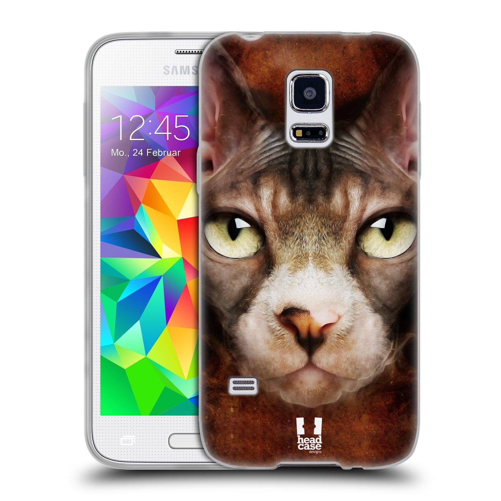 HEAD CASE silikonový obal na mobil Samsung Galaxy S5 MINI vzor Zvířecí tváře kočka sphynx