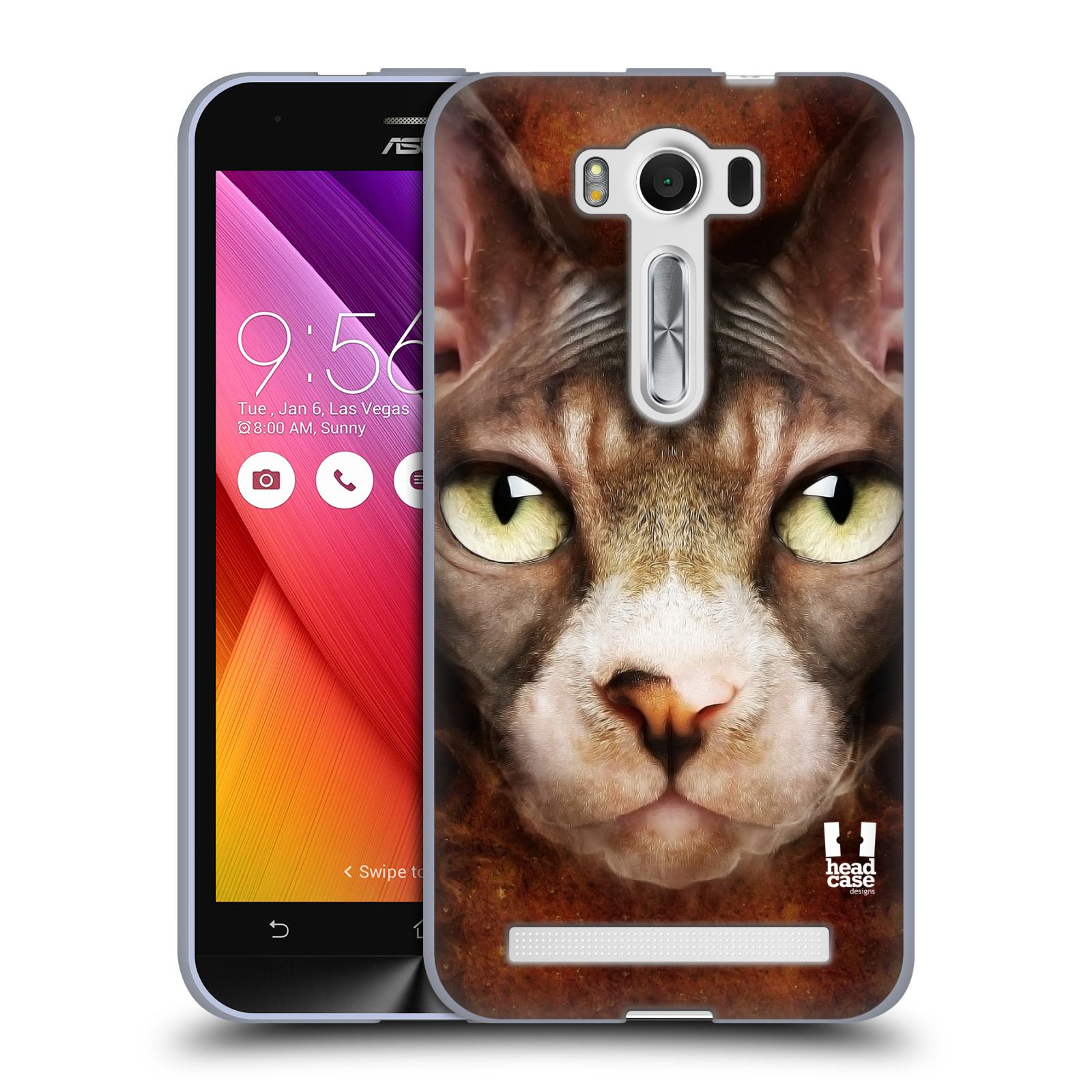 """HEAD CASE silikonový obal na mobil Asus Zenfone 2 LASER (ZE500KL s 5"""" displejem) vzor Zvířecí tváře kočka sphynx"""