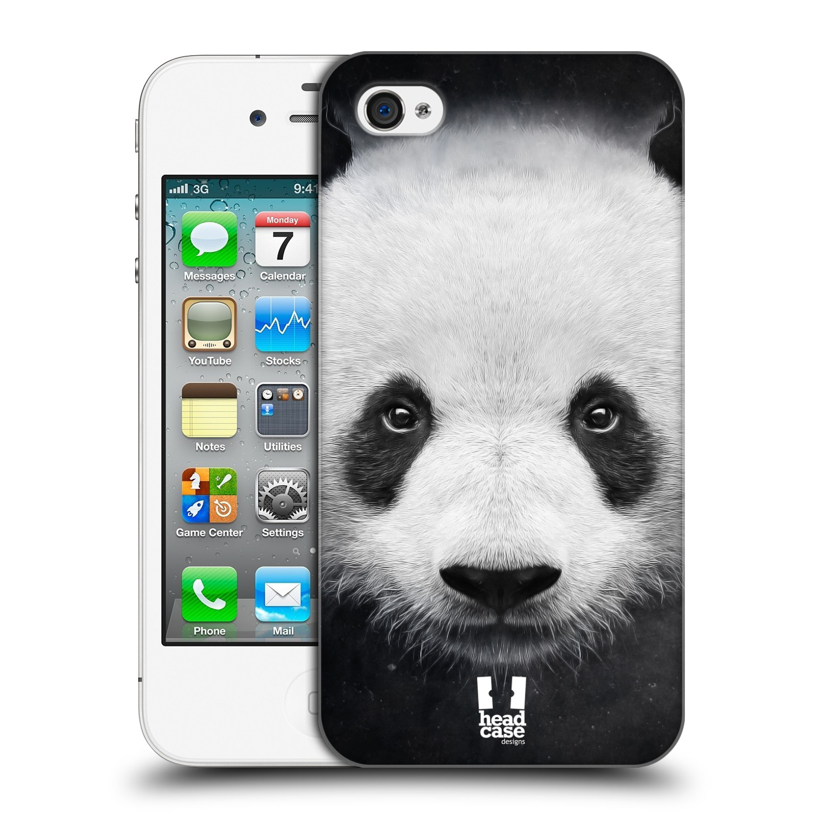 HEAD CASE plastový obal na mobil Apple Iphone 4/4S vzor Zvířecí tváře medvěd panda
