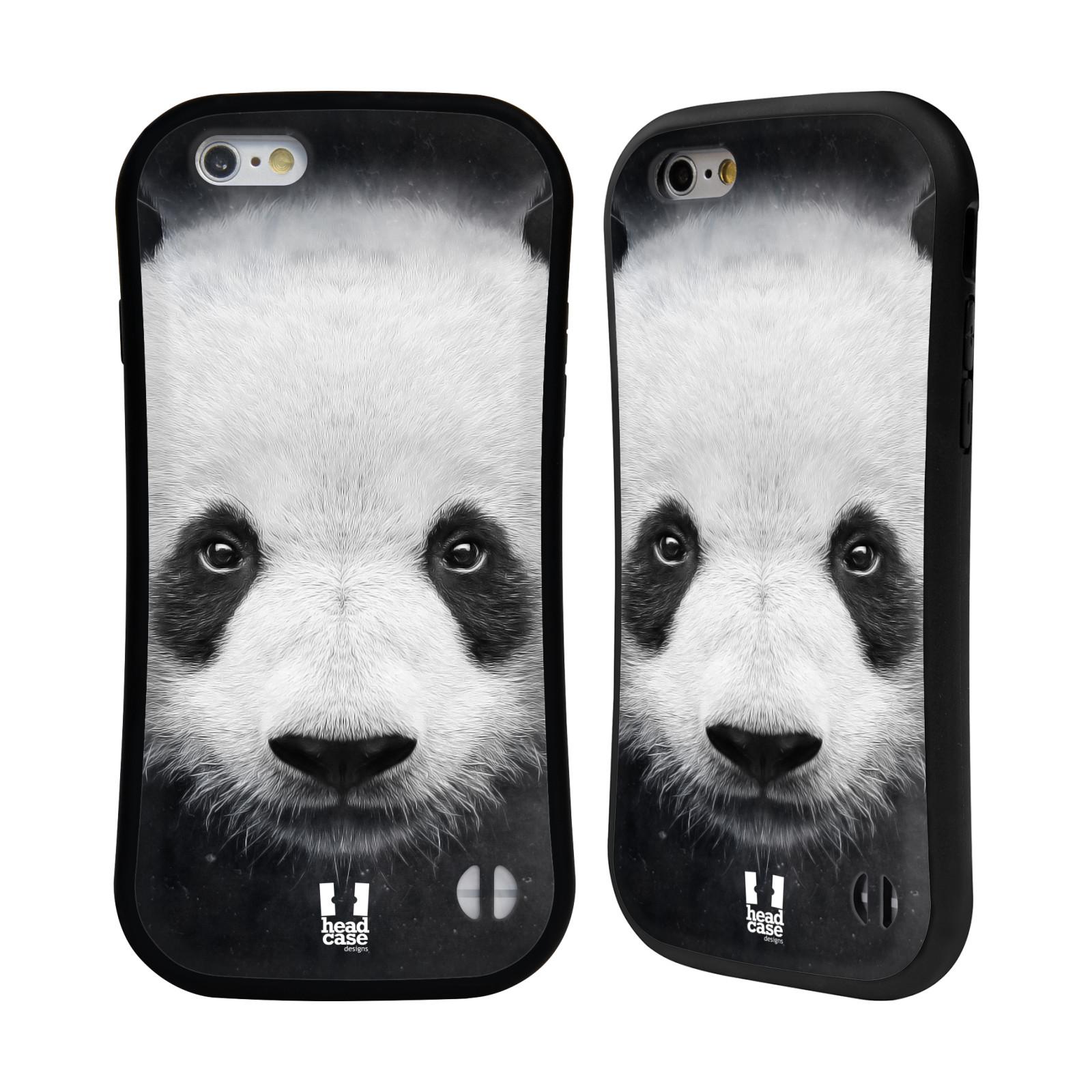 HEAD CASE silikon/plast odolný obal na mobil Apple Iphone 6/6S vzor Zvířecí tváře medvěd panda