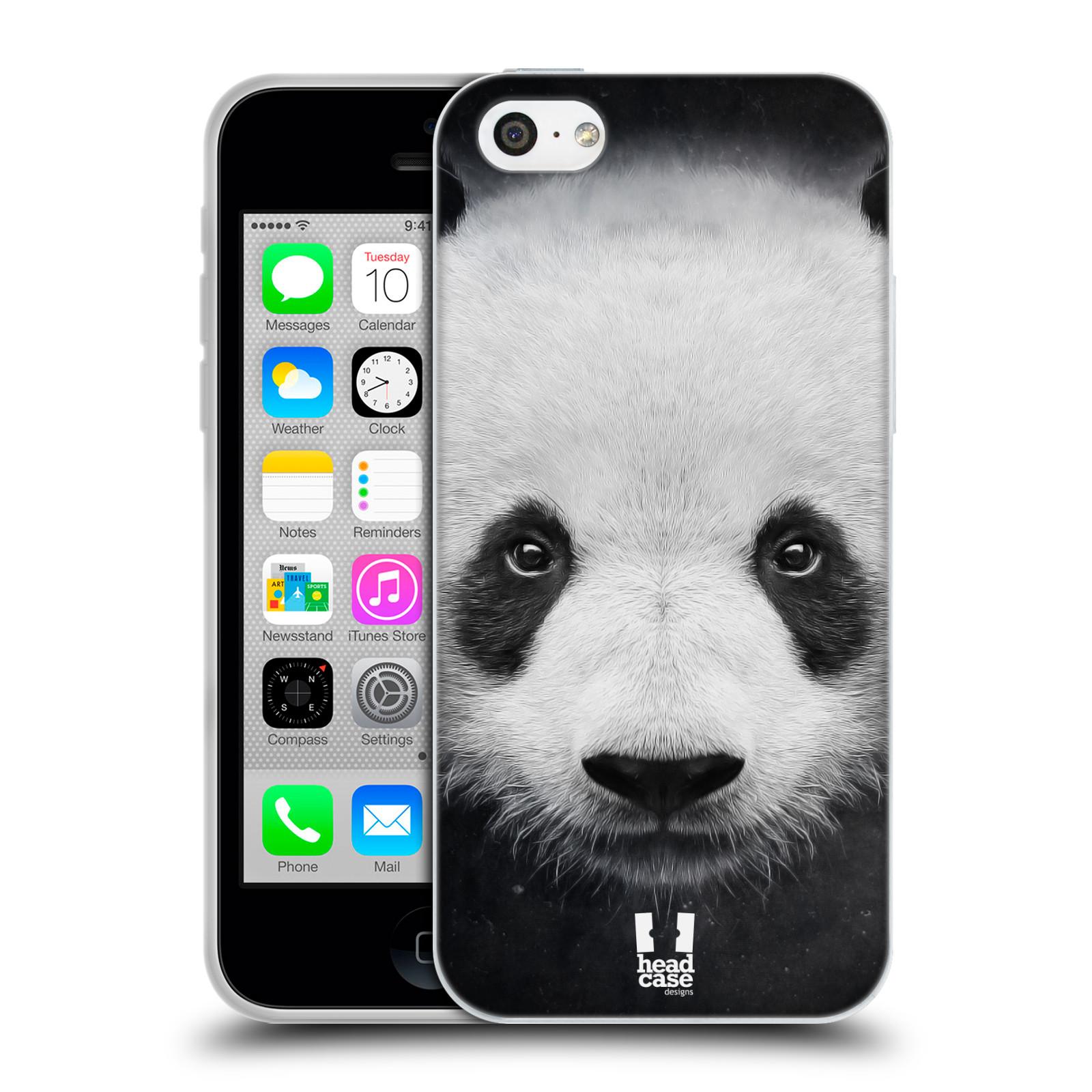 HEAD CASE silikonový obal na mobil Apple Iphone 5C vzor Zvířecí tváře medvěd panda