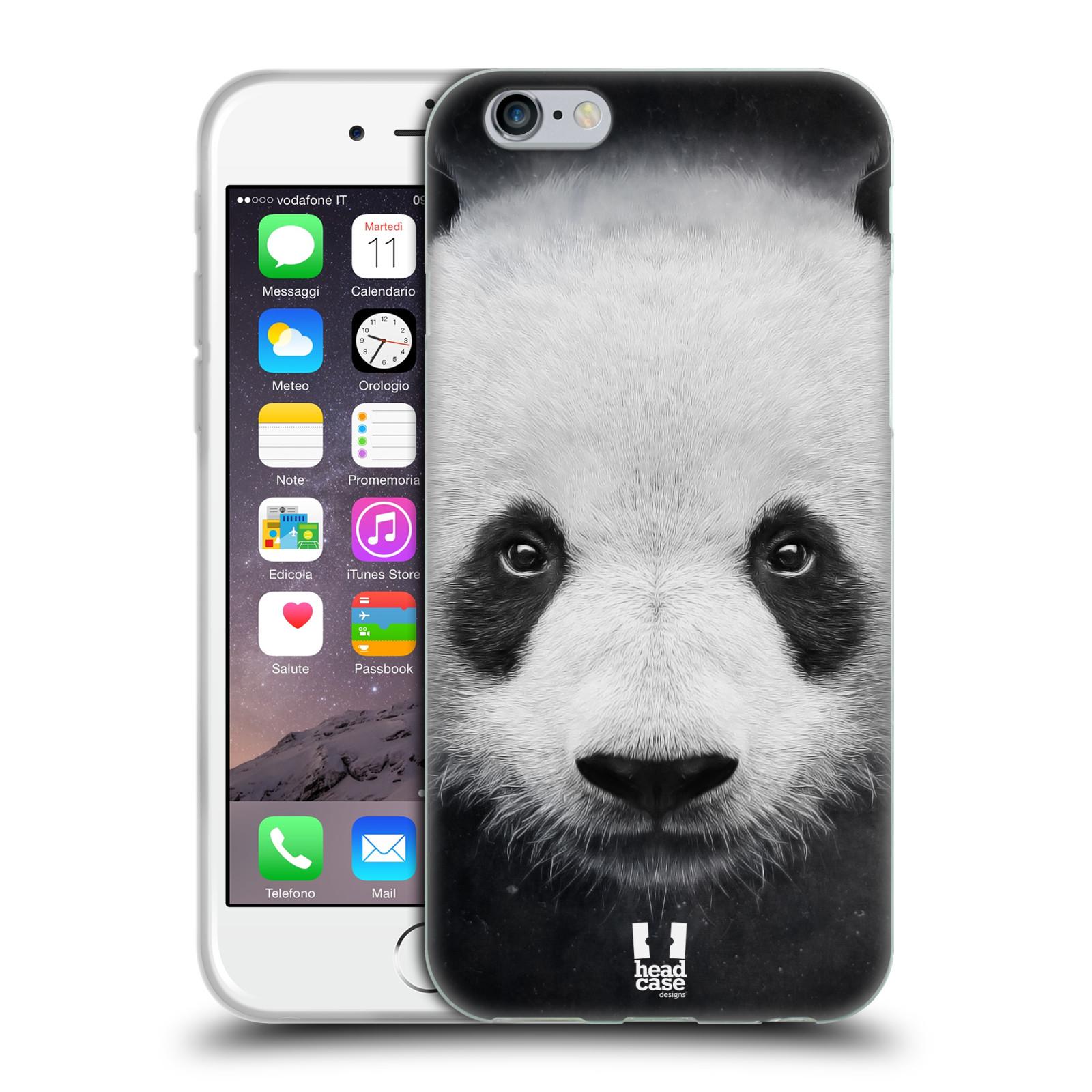 HEAD CASE silikonový obal na mobil Apple Iphone 6/6S vzor Zvířecí tváře medvěd panda