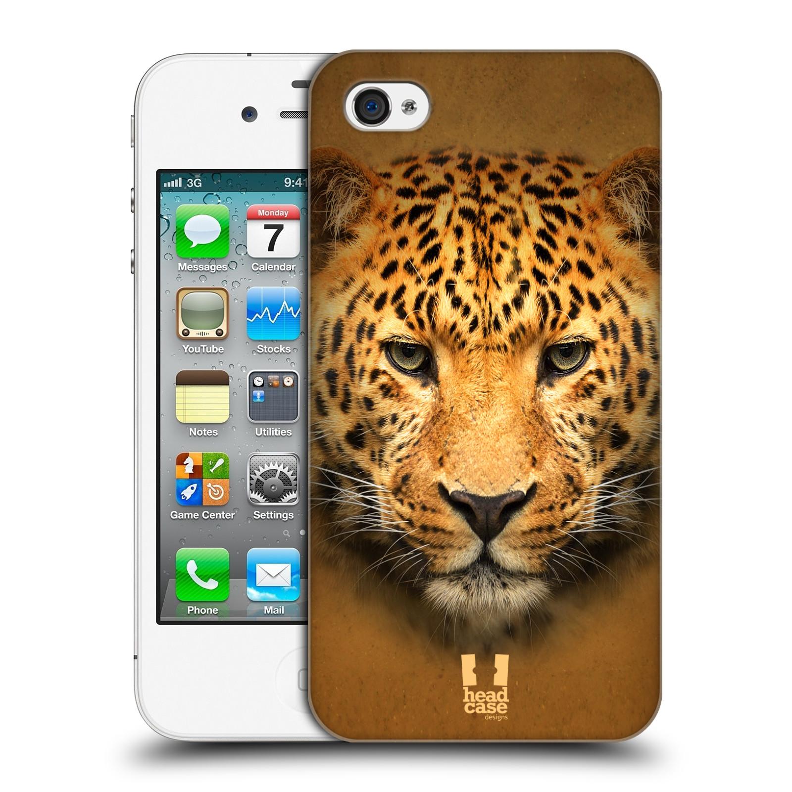 HEAD CASE plastový obal na mobil Apple Iphone 4/4S vzor Zvířecí tváře 2 leopard