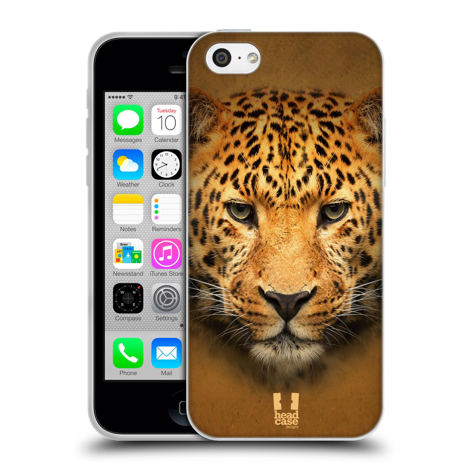 HEAD CASE silikonový obal na mobil Apple Iphone 5C vzor Zvířecí tváře 2 leopard