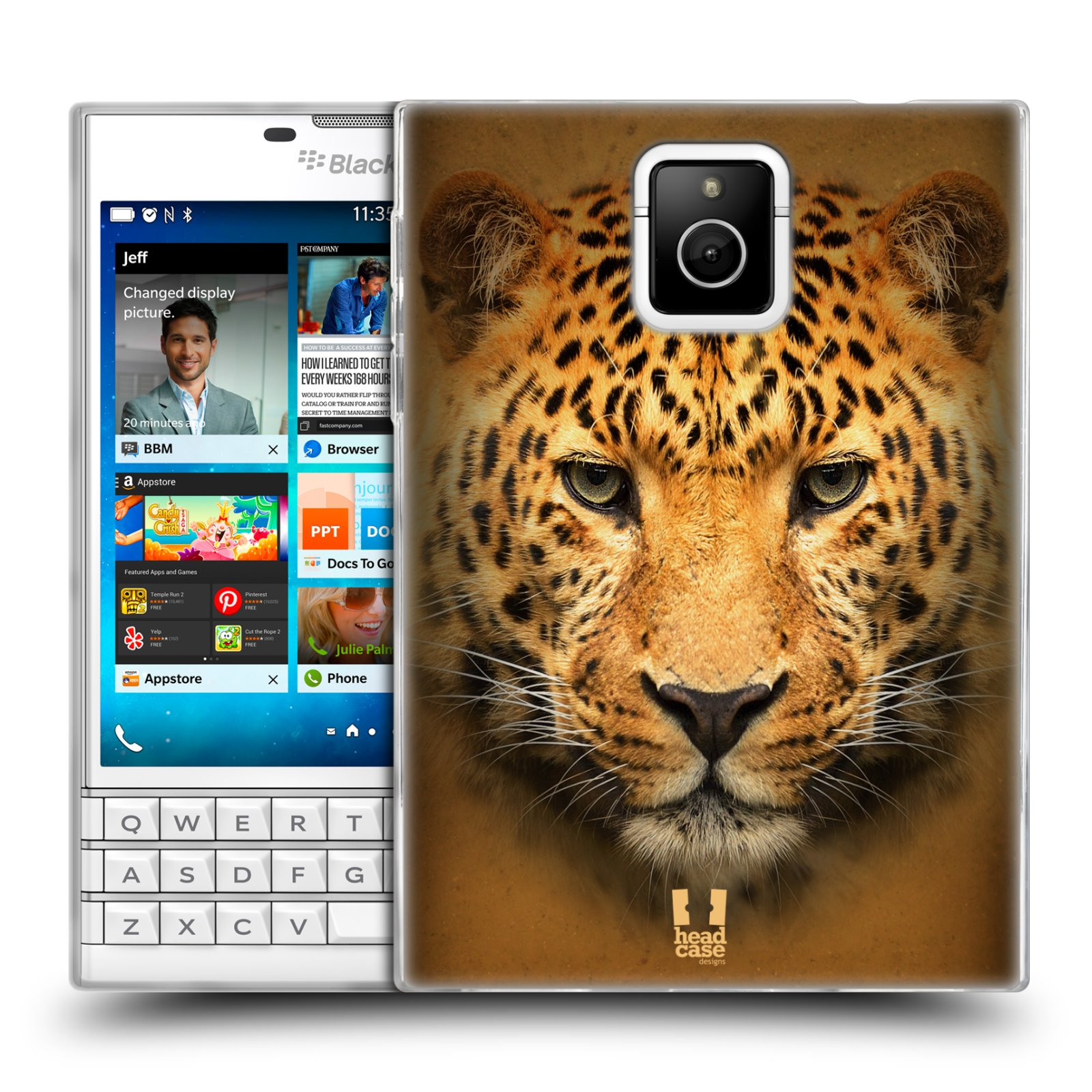 HEAD CASE silikonový obal na mobil Blackberry PASSPORT vzor Zvířecí tváře 2 leopard