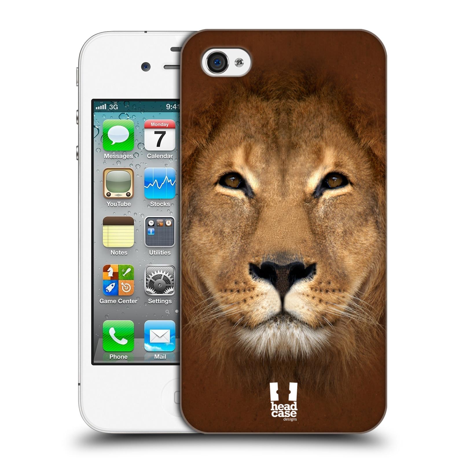 HEAD CASE plastový obal na mobil Apple Iphone 4/4S vzor Zvířecí tváře 2 Lev