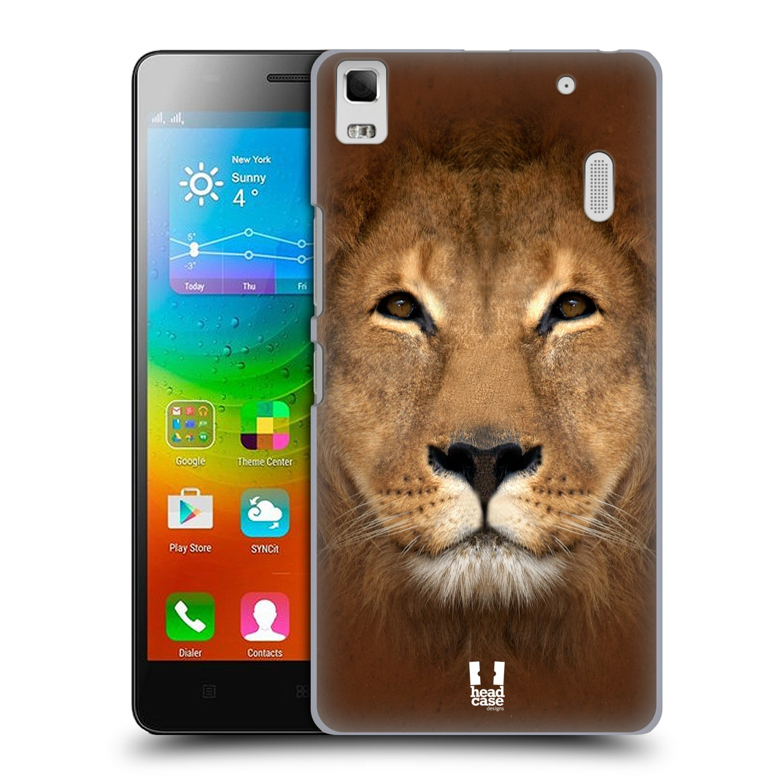 HEAD CASE pevný plastový obal na mobil LENOVO A7000 / A7000 DUAL / K3 NOTE vzor Zvířecí tváře 2 Lev