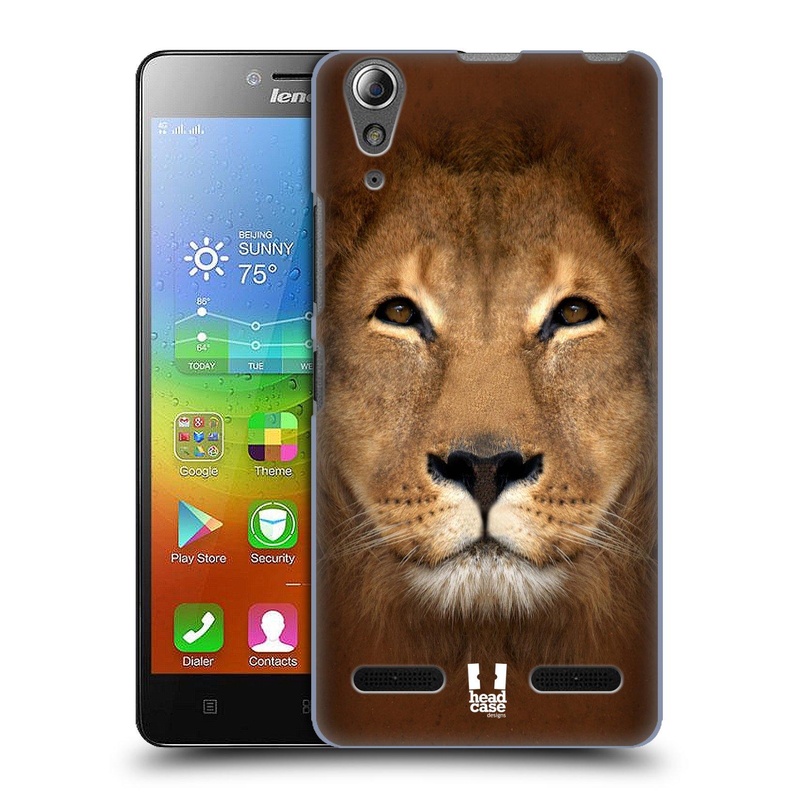 HEAD CASE pevný plastový obal na mobil LENOVO A6000 / A6000 PLUS vzor Zvířecí tváře 2 Lev